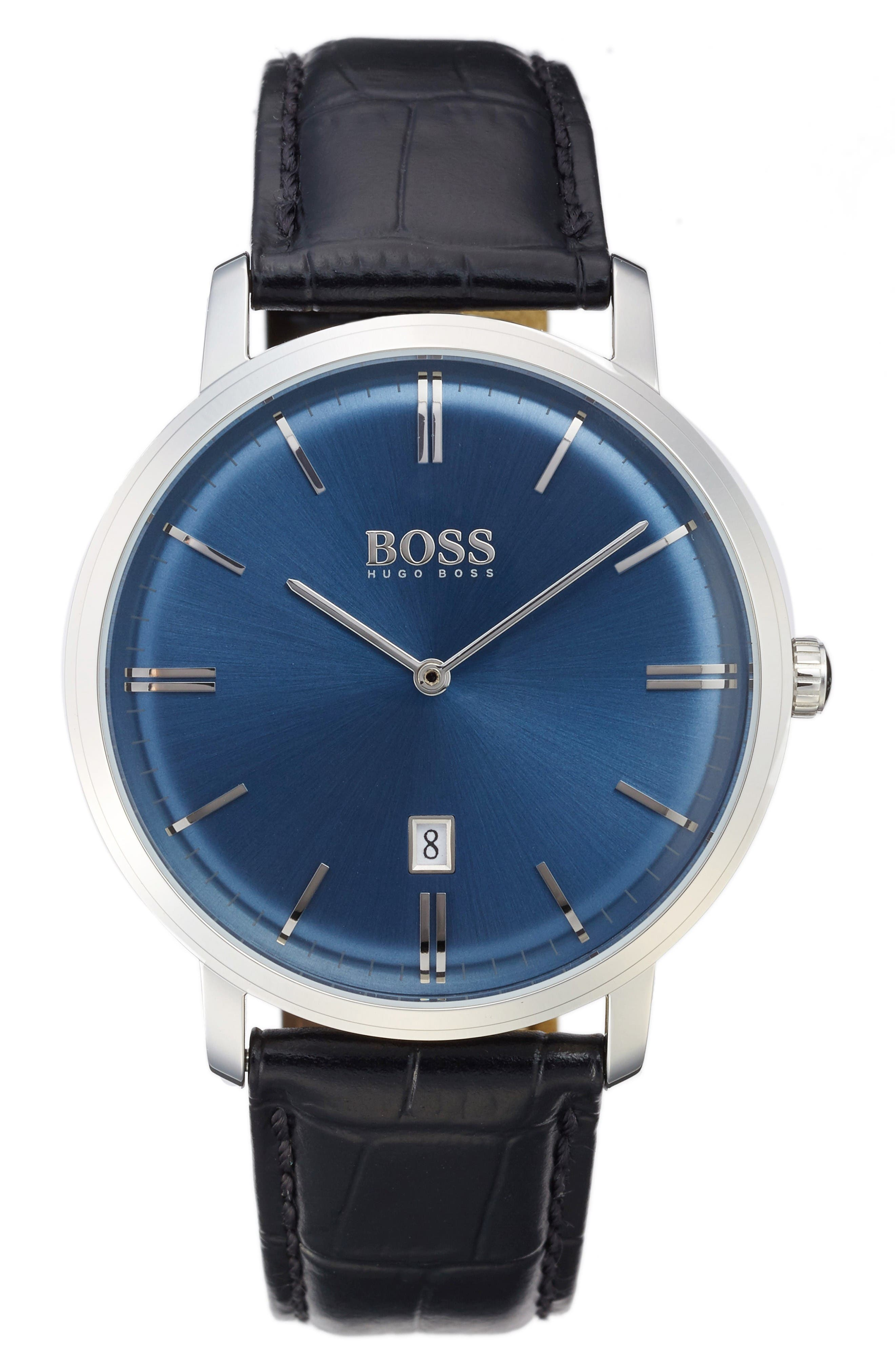 Tradition Leather Strap Watch, 40mm,                         Main,                         color, Blue/ Black