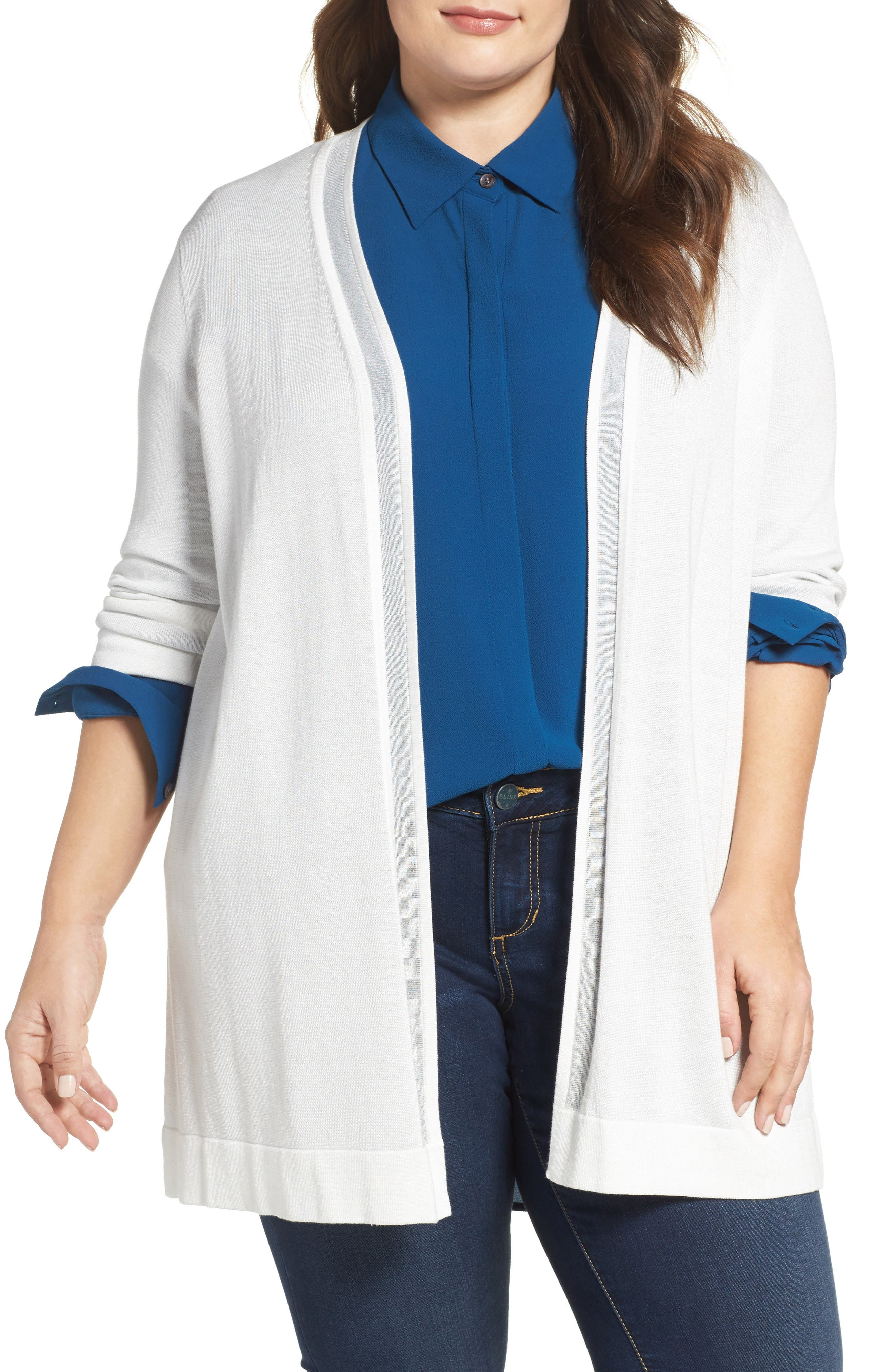 Vince Camuto Sheer Stripe Cardigan (Plus Size)