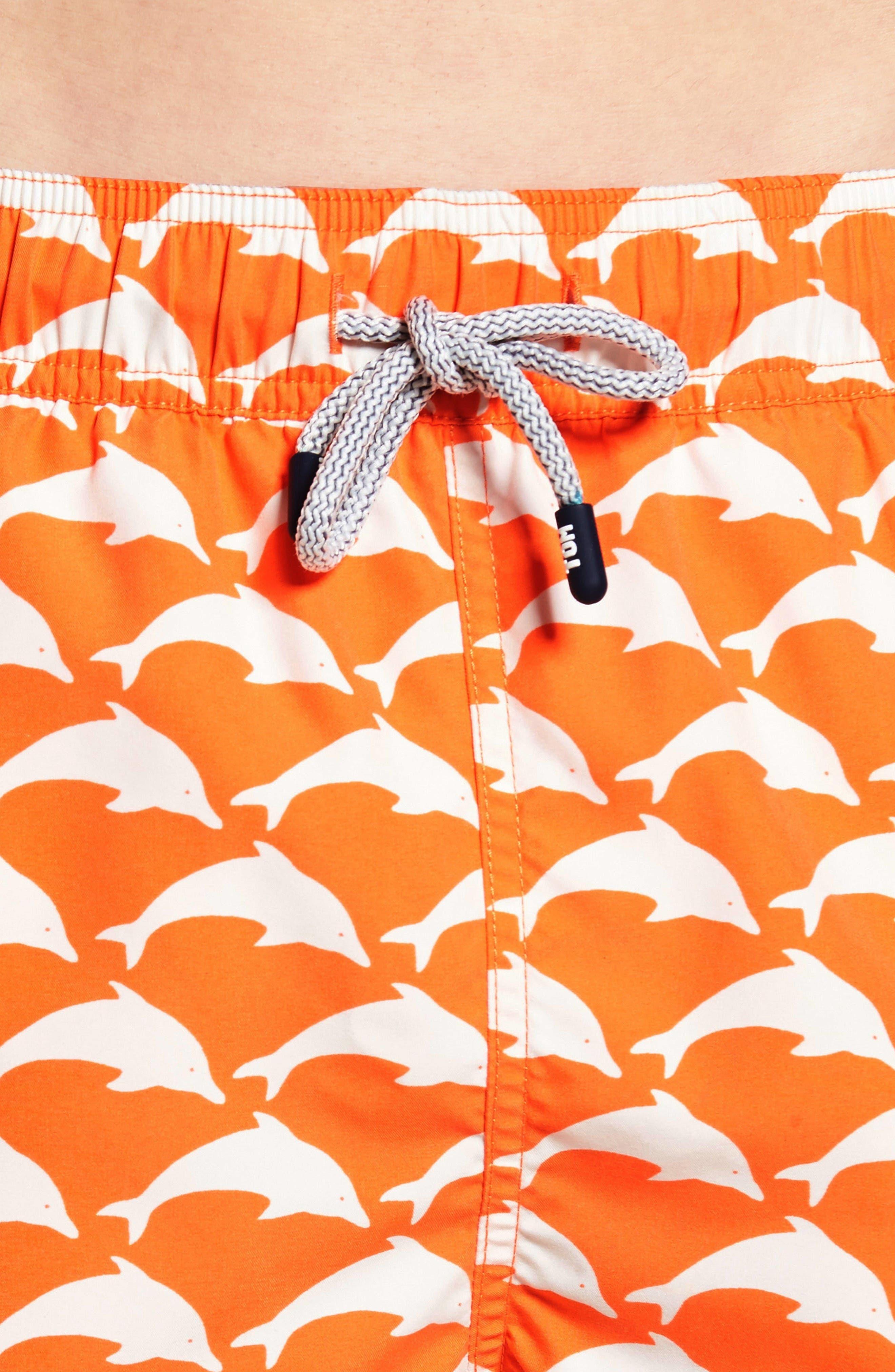 Dolphin Print Swim Trunks,                             Alternate thumbnail 4, color,                             Orange White