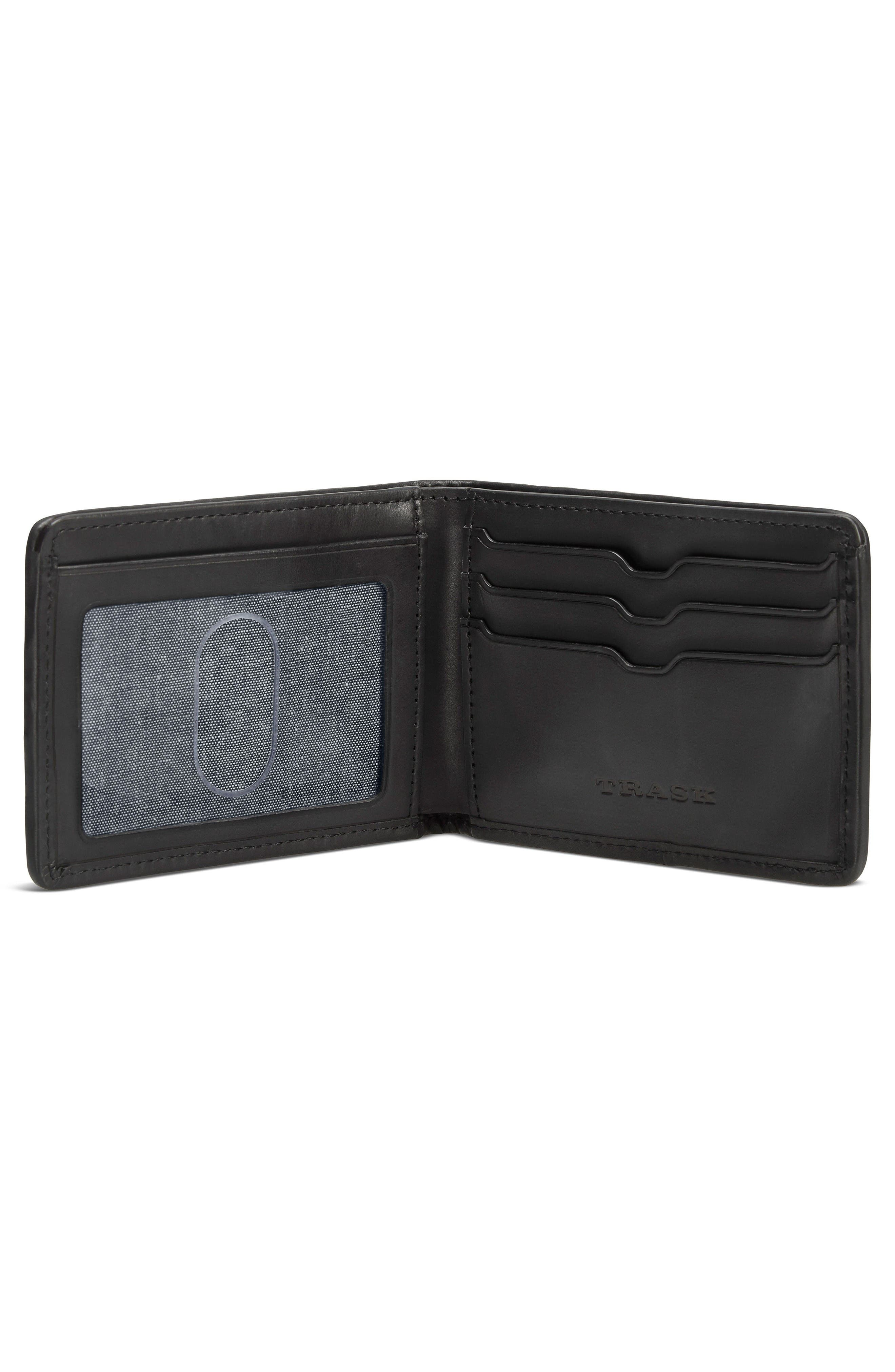 Woven Leather Wallet,                             Alternate thumbnail 2, color,                             Black