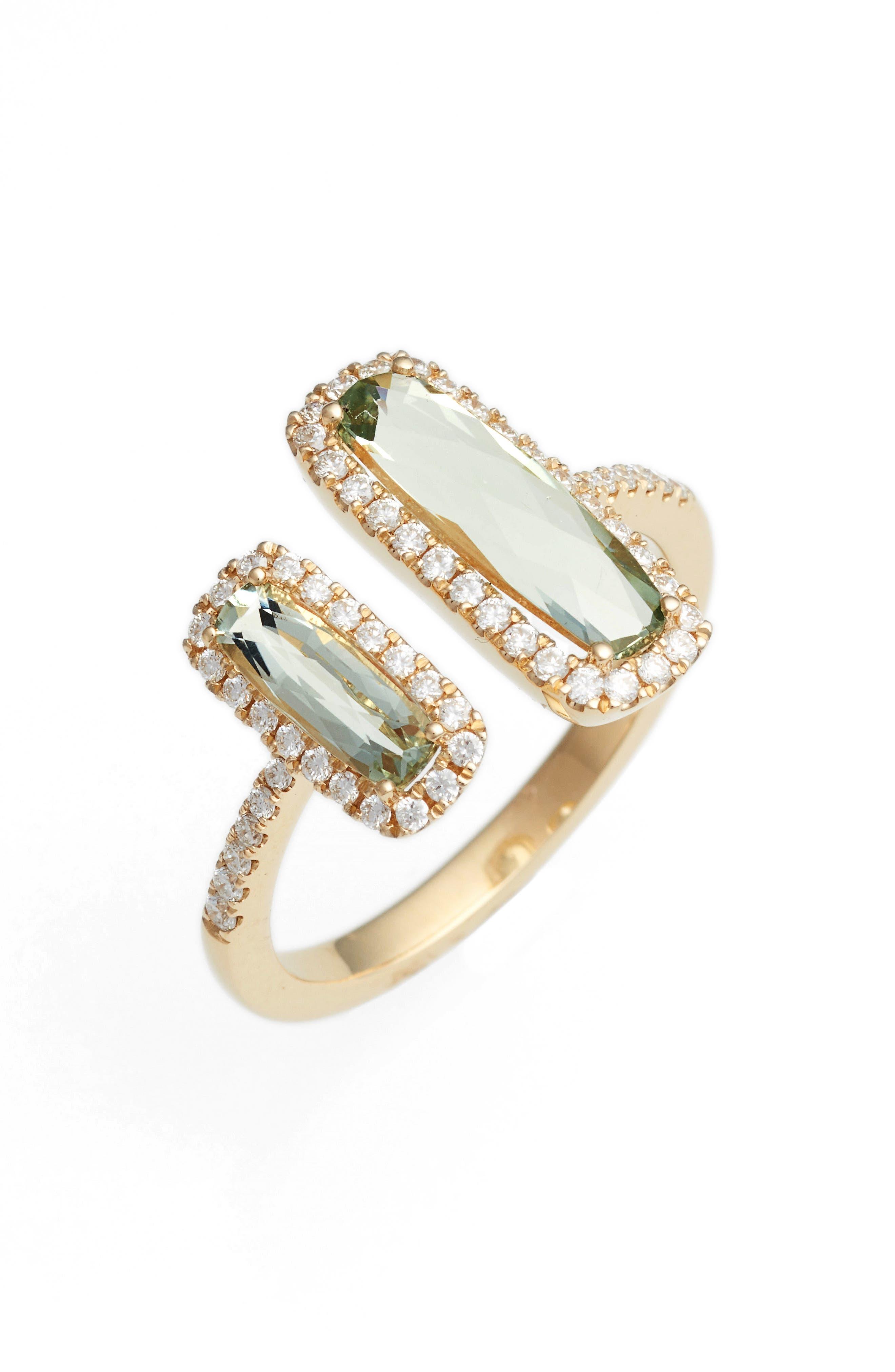 Iris Diamond & Semiprecious Stone Open Ring,                         Main,                         color, Yellow Gold/ Green Amethyst