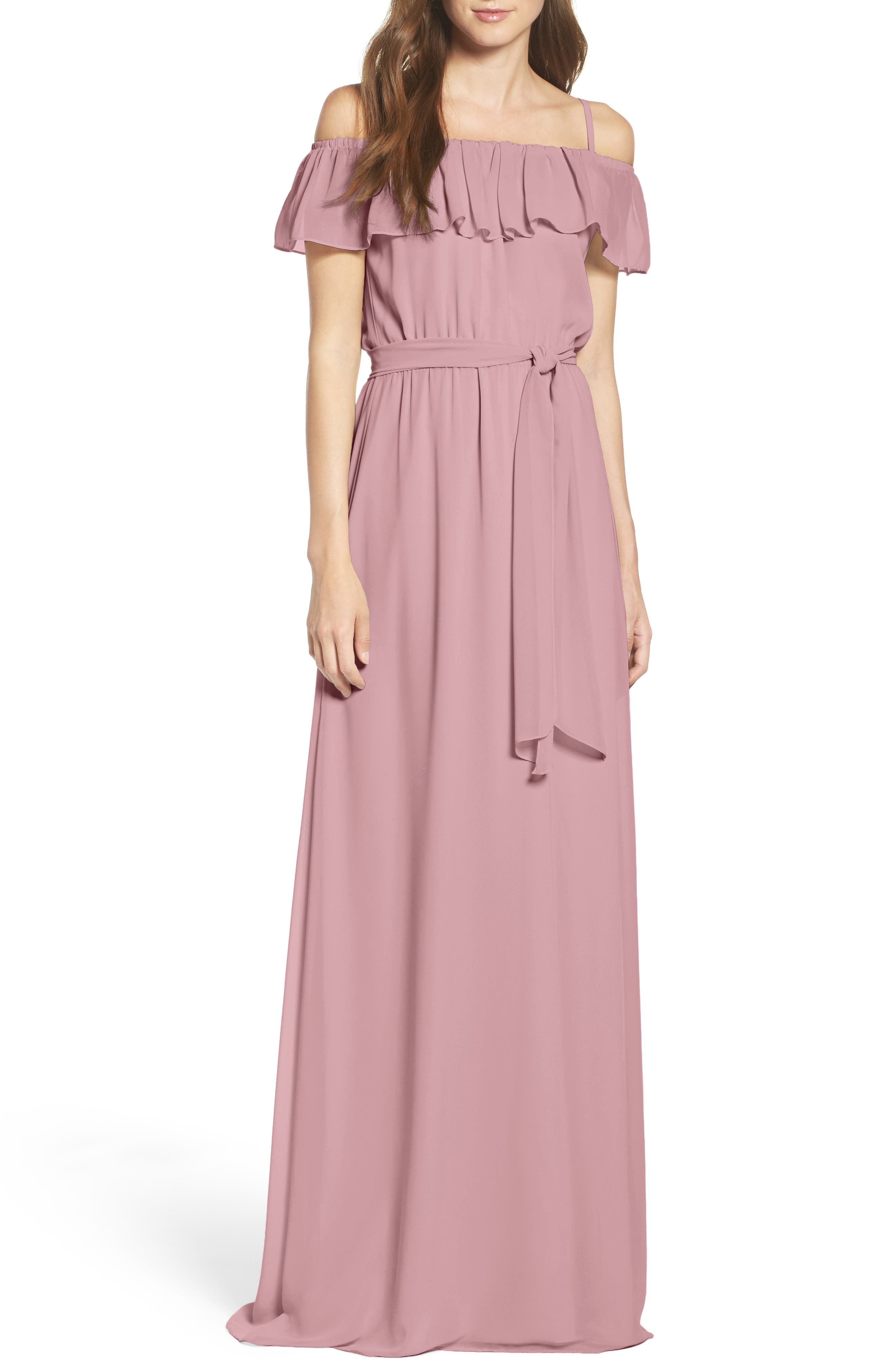 Main Image - Ceremony by Joanna August Ruffle Off the Shoulder Chiffon Gown