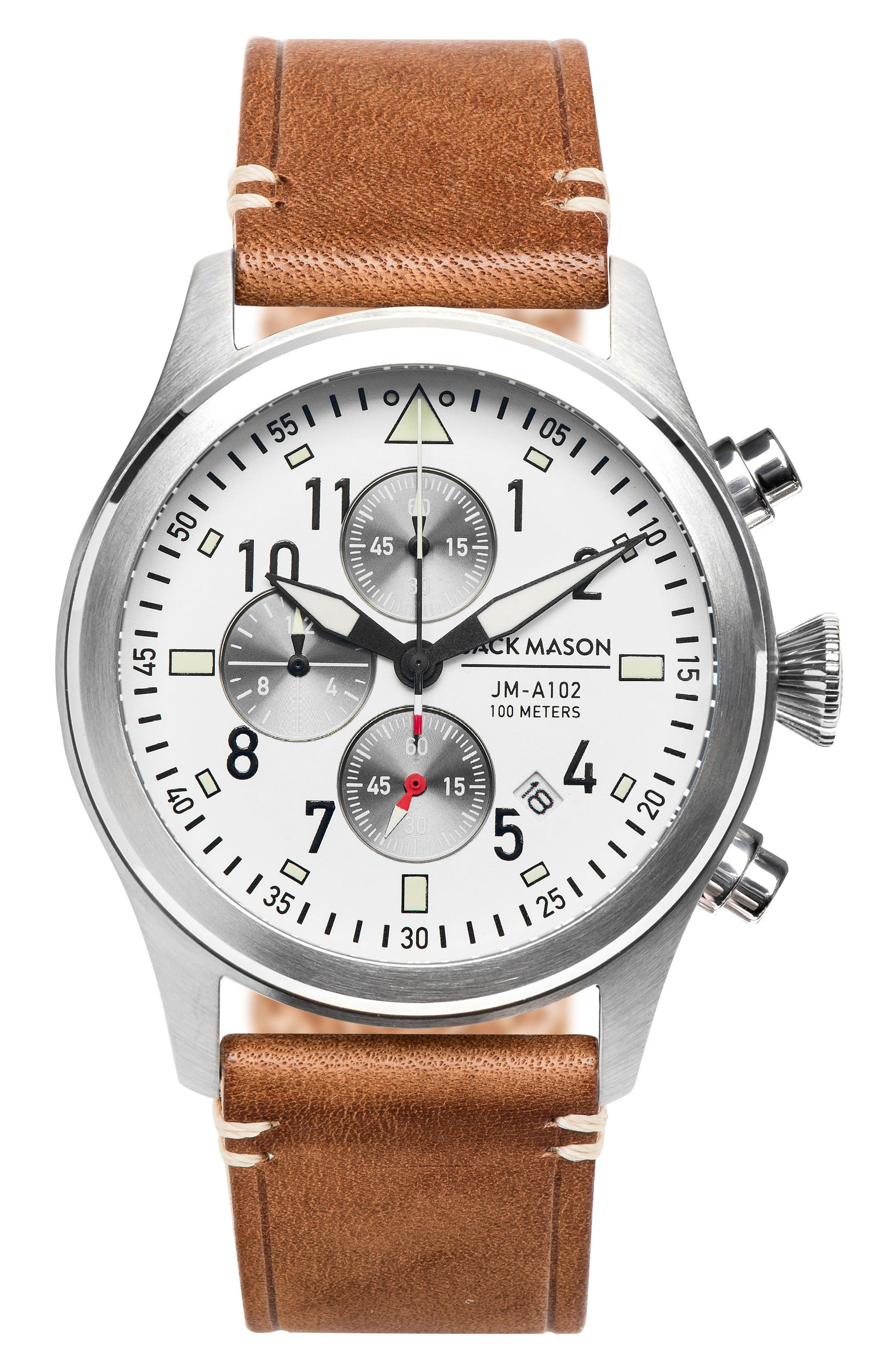 Aviation Chronograph Leather Strap Watch, 42mm,                             Main thumbnail 1, color,                             White/ Saddle