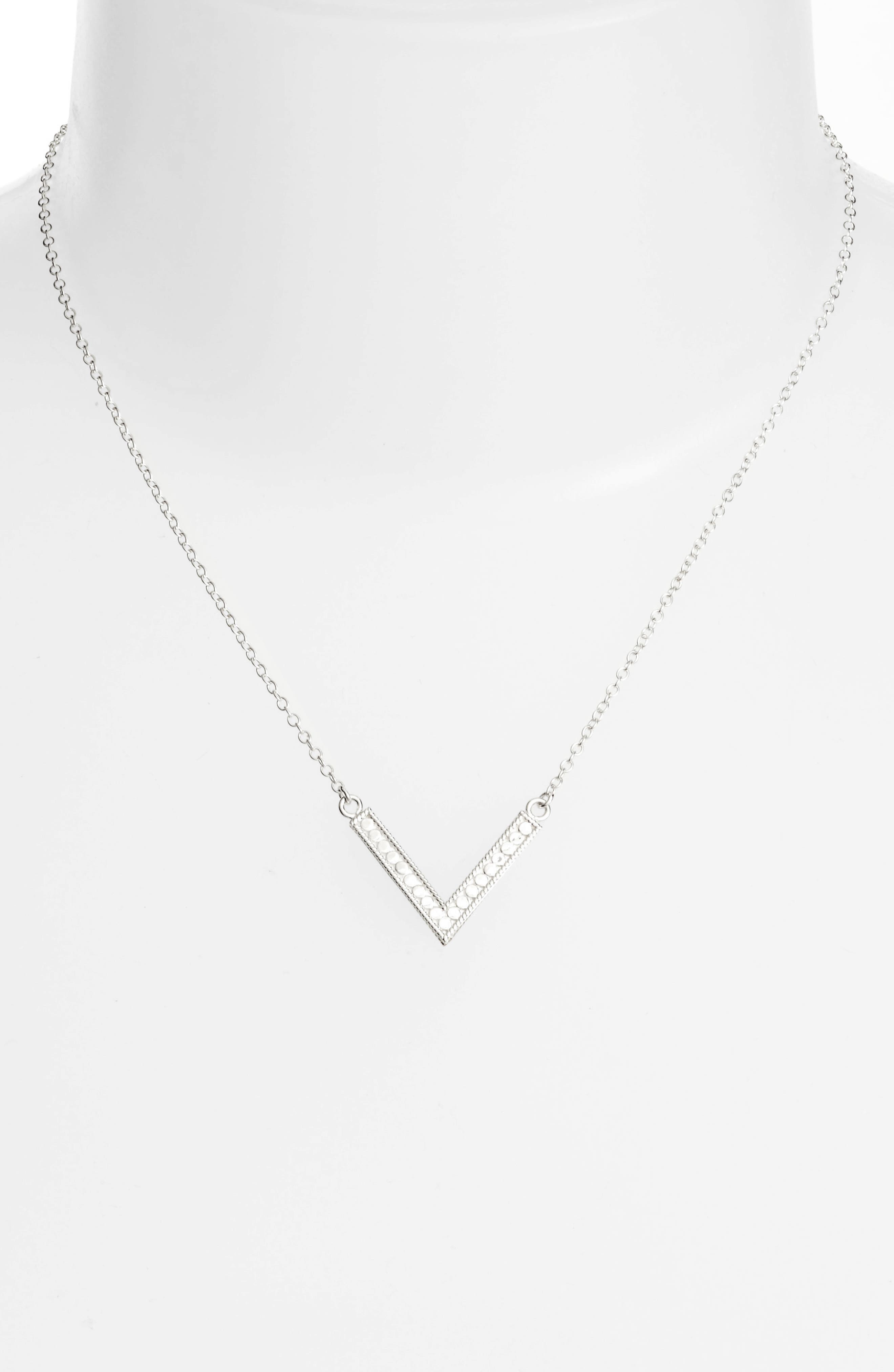 Reversible V Necklace,                             Alternate thumbnail 3, color,                             Gold/ Silver