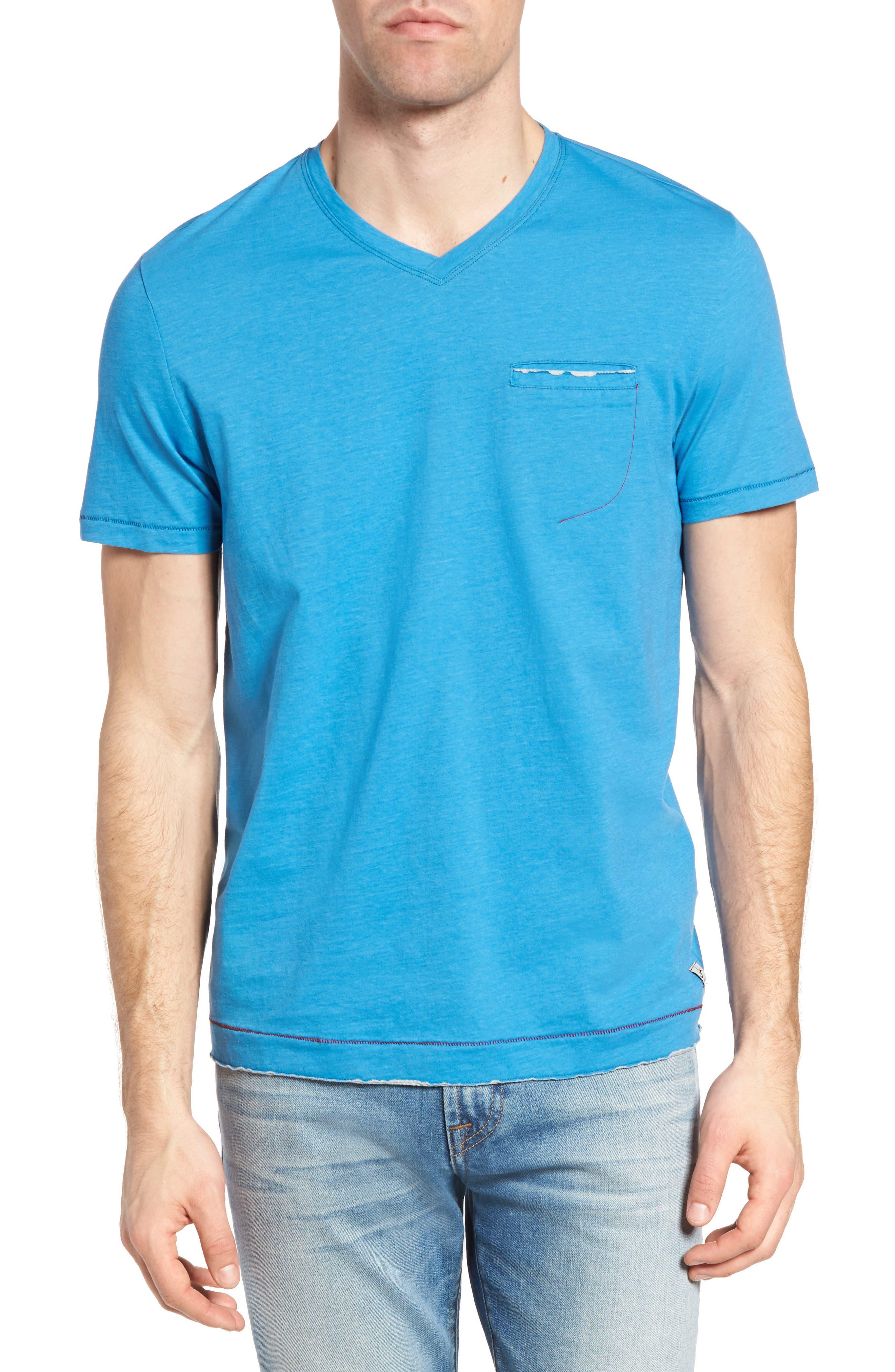 Gus Pad Pocket V-Neck T-Shirt,                         Main,                         color, Mykonos Blue