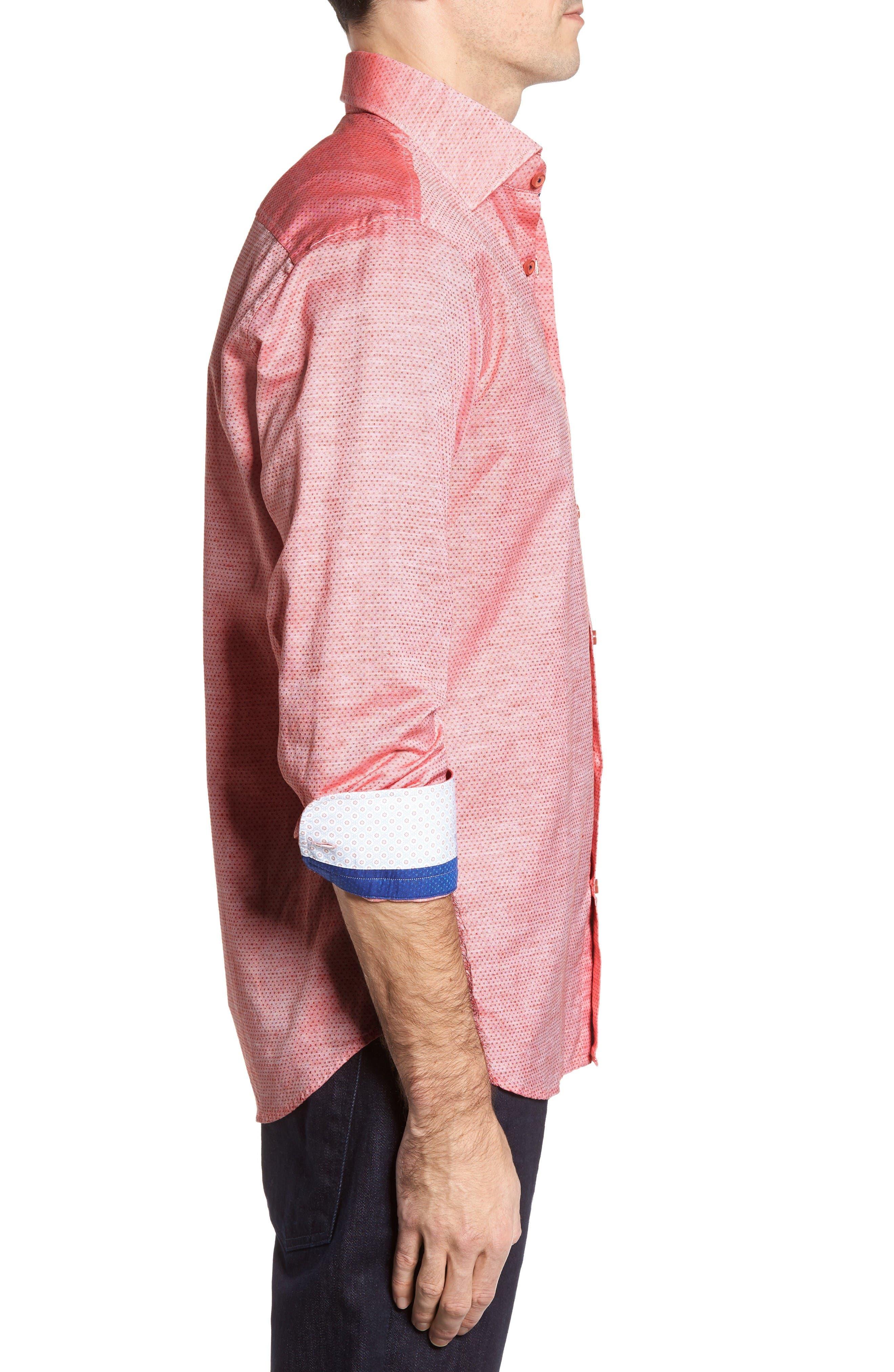 Dobby Cotton & Linen Sport Shirt,                             Alternate thumbnail 3, color,                             Coral