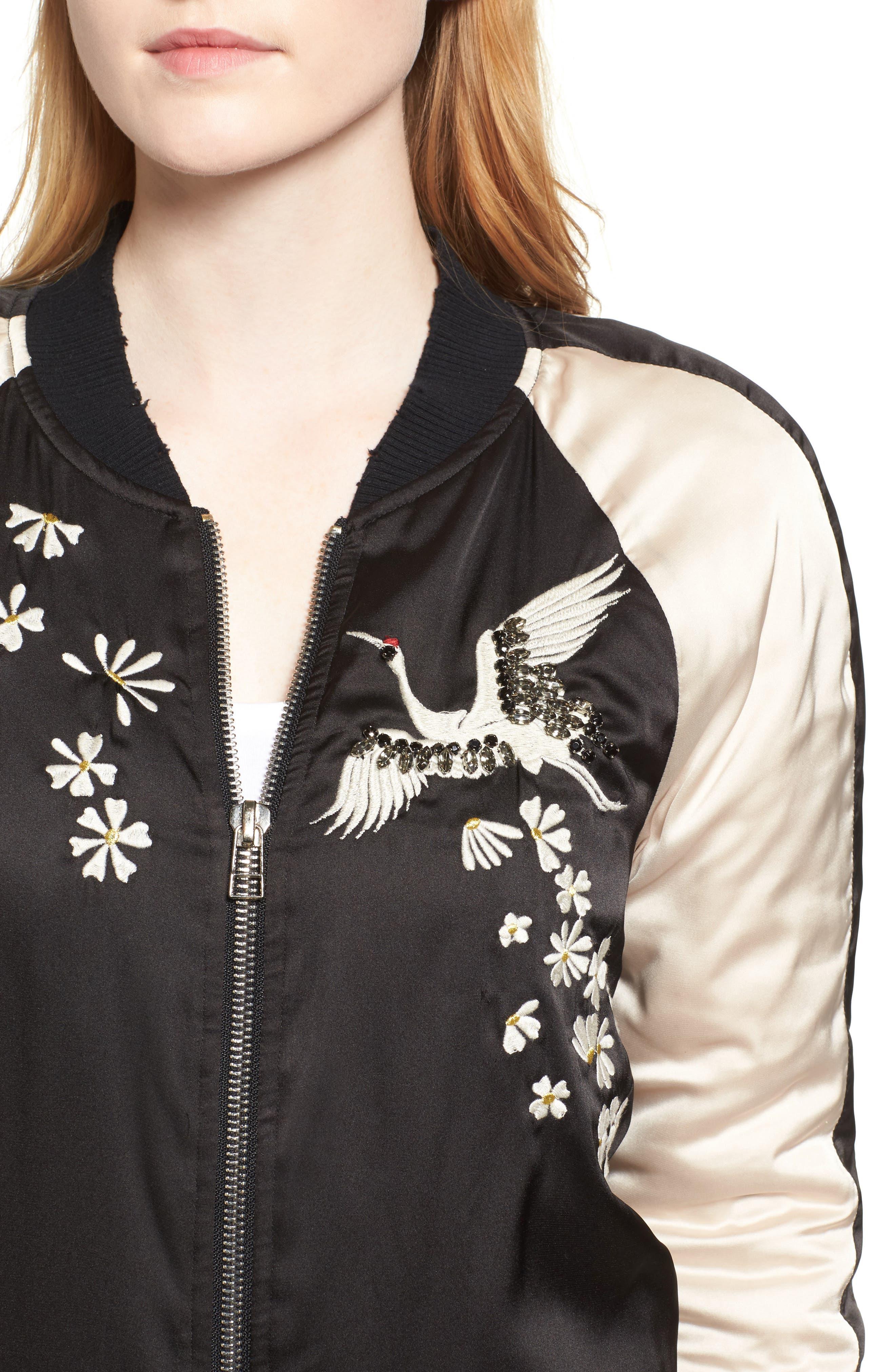 Alternate Image 4  - Pam & Gela Embellished Satin Bomber Jacket