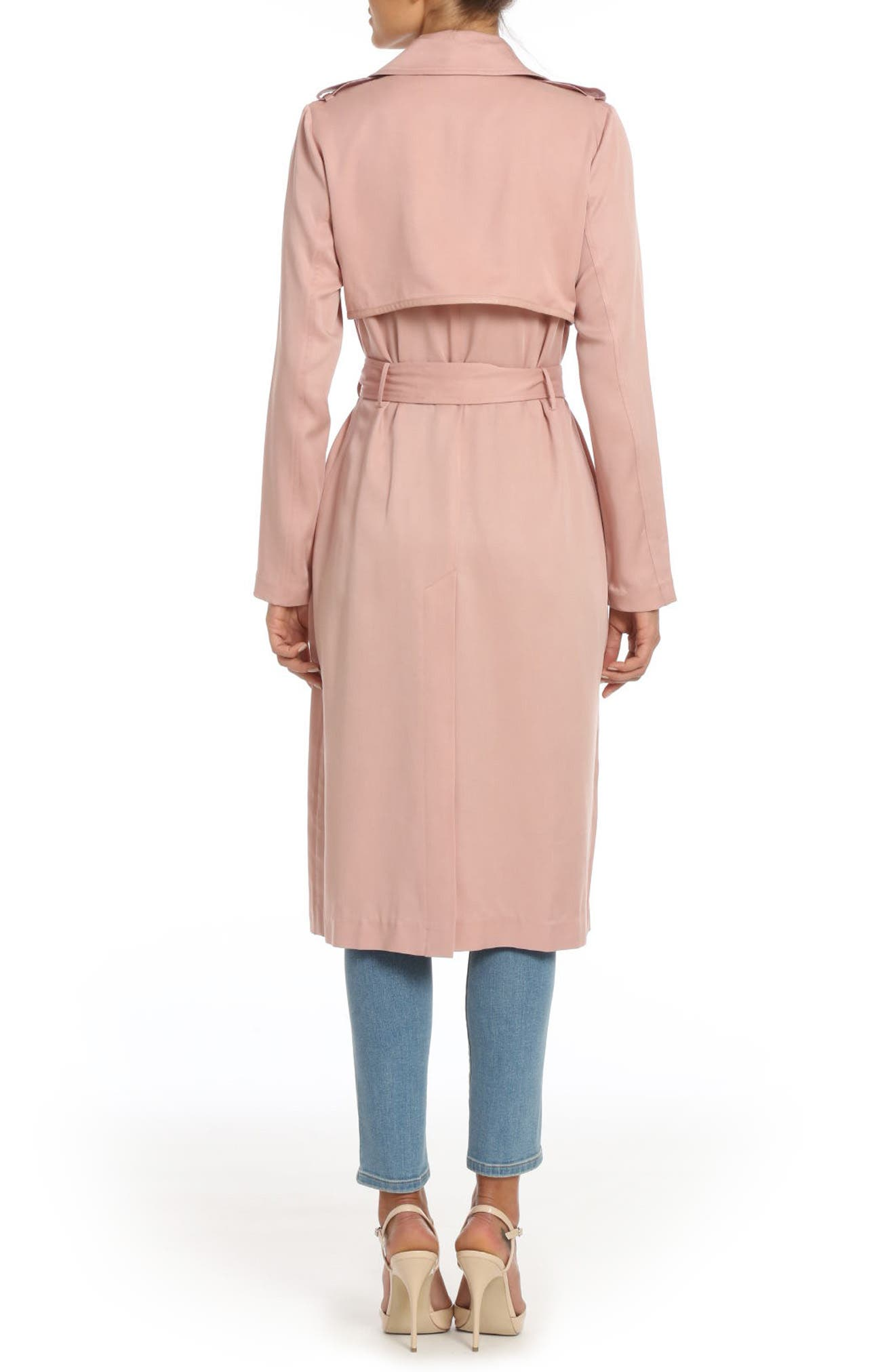 Alternate Image 2  - Badgley Mischka Faux Leather Trim Long Trench Coat