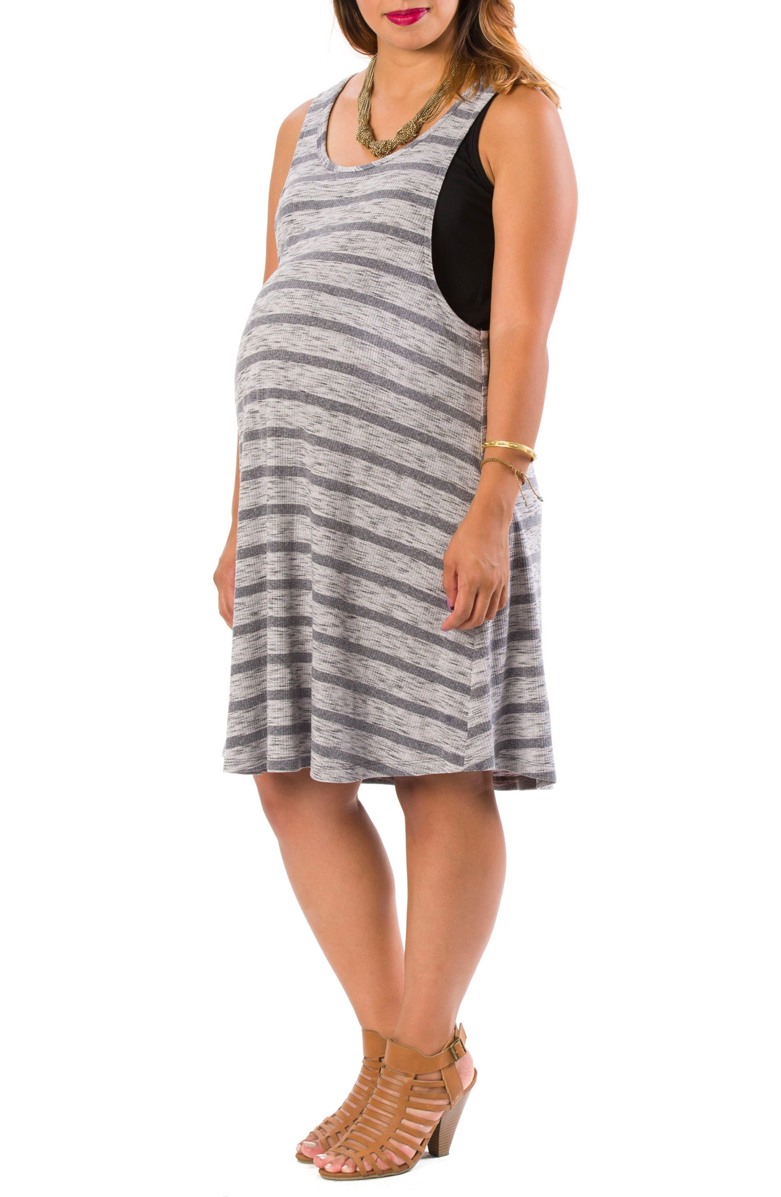 Danielle Maternity/Nursing Tank Dress,                             Main thumbnail 1, color,                             Gray Stripe W/ Black