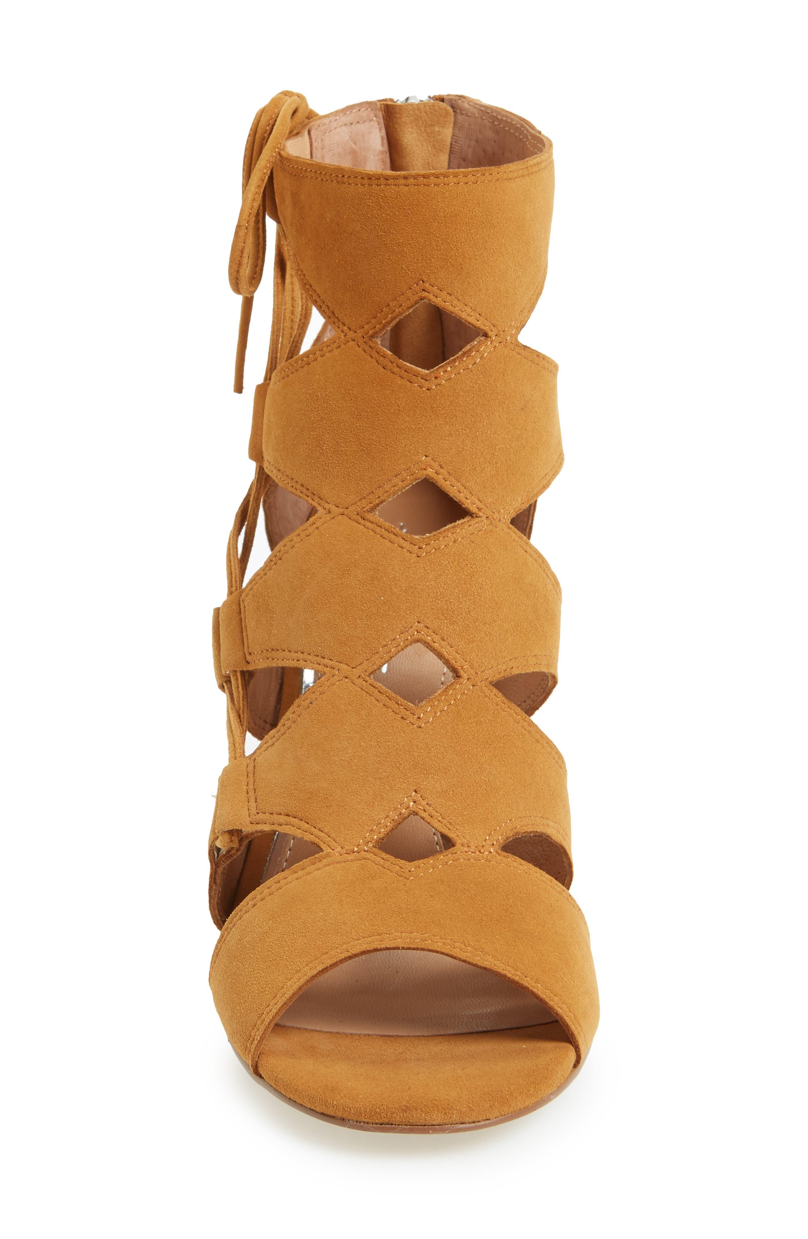 Hawley Cutout Sandal,                             Alternate thumbnail 3, color,                             Cognac Suede