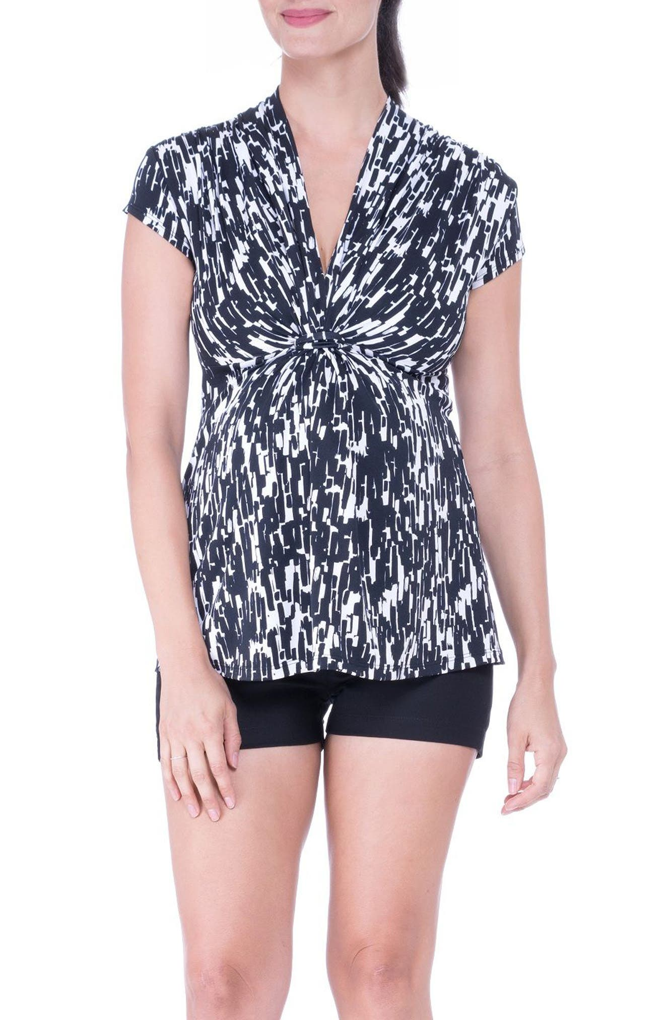 Knot Maternity Top,                         Main,                         color, Black/ White