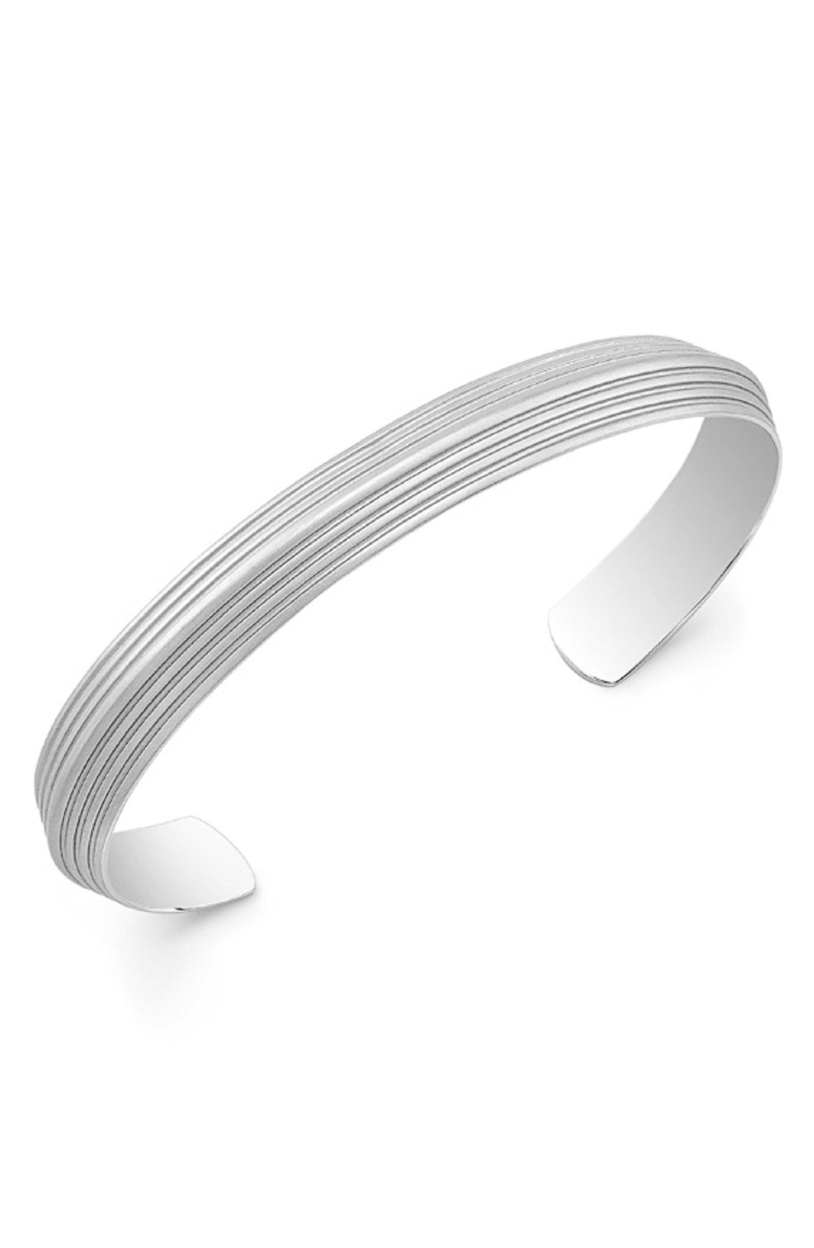 Stainless Steel Cuff Bracelet,                         Main,                         color, Silver