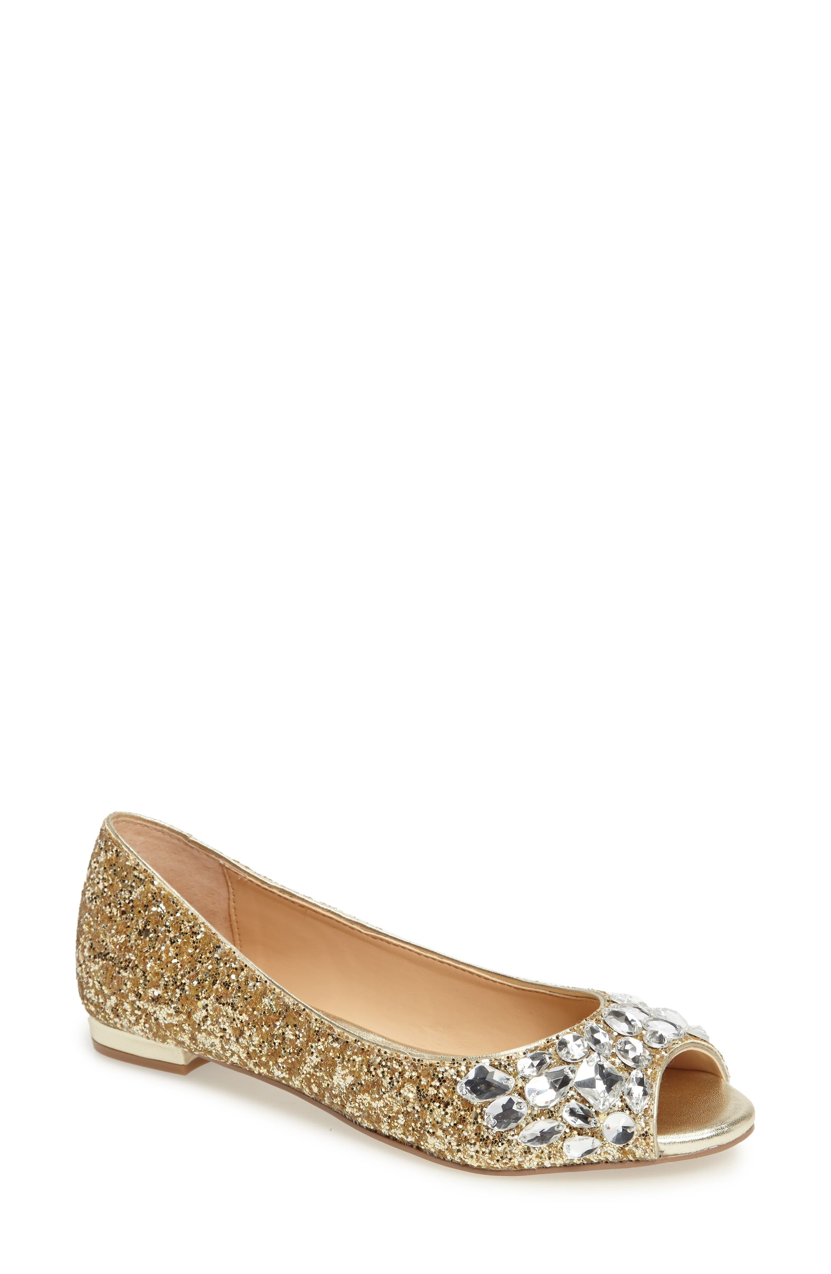 Alternate Image 1 Selected - Jewel Badgley Mischka Claire Embellished Flat (Women)