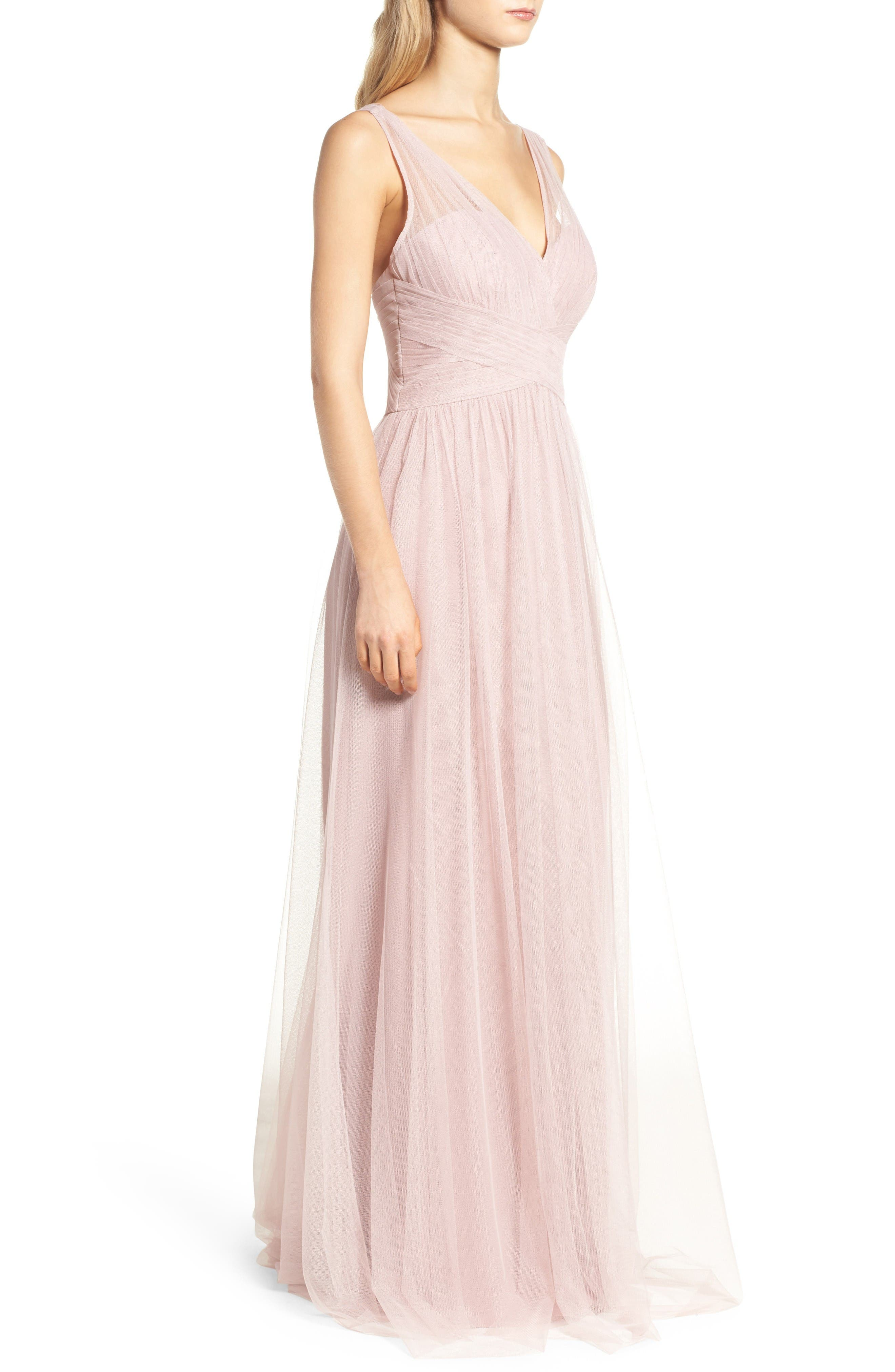 Illusion Gown,                             Alternate thumbnail 2, color,                             Dusty Rose