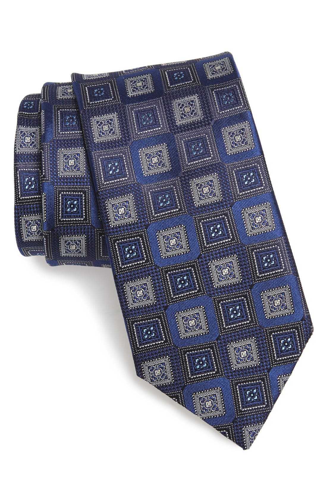 'Slash' Medallion Silk Tie,                             Main thumbnail 1, color,                             Navy