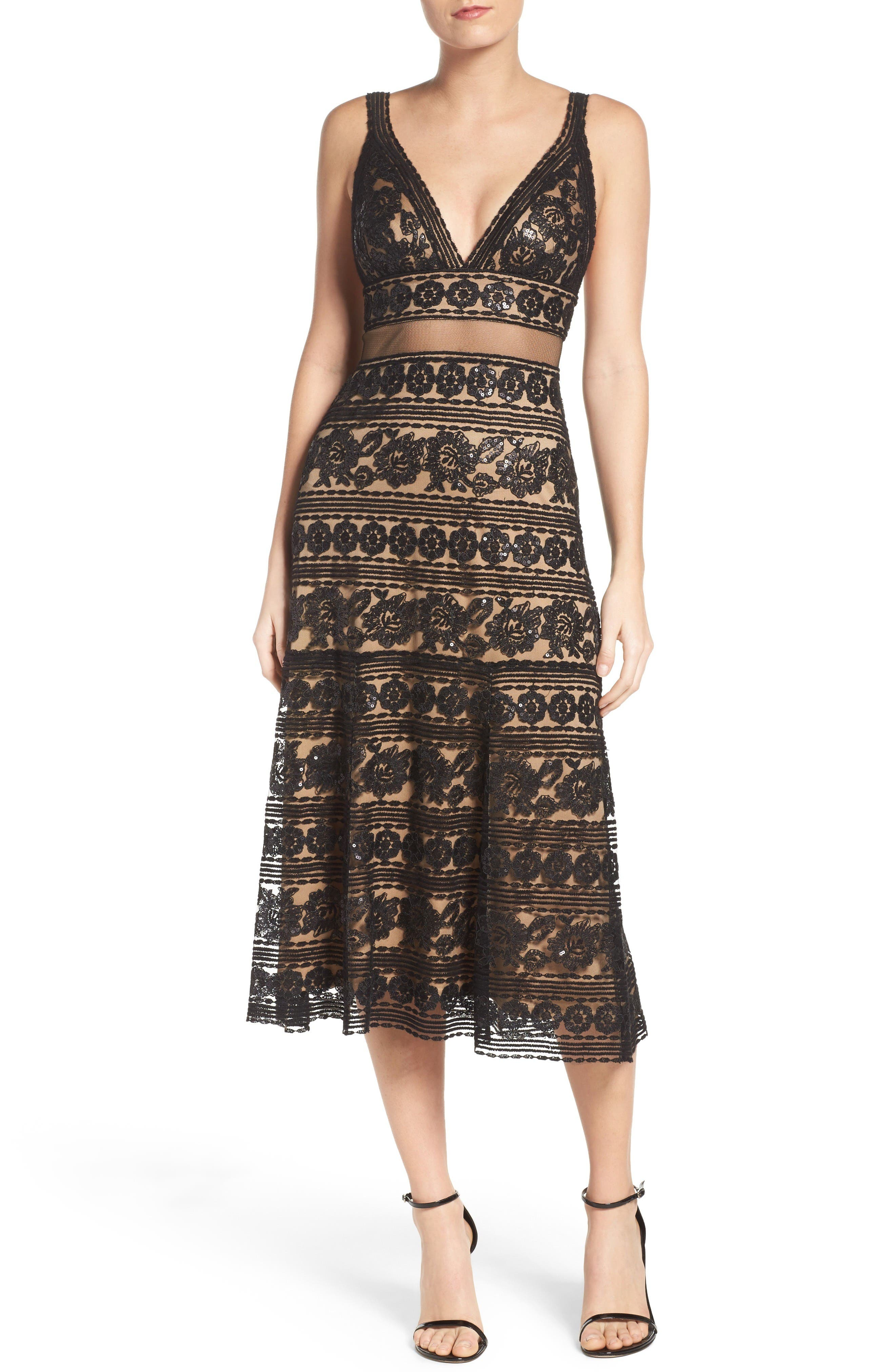 Main Image - Tadashi Shoji Deep V Lace Midi Dress