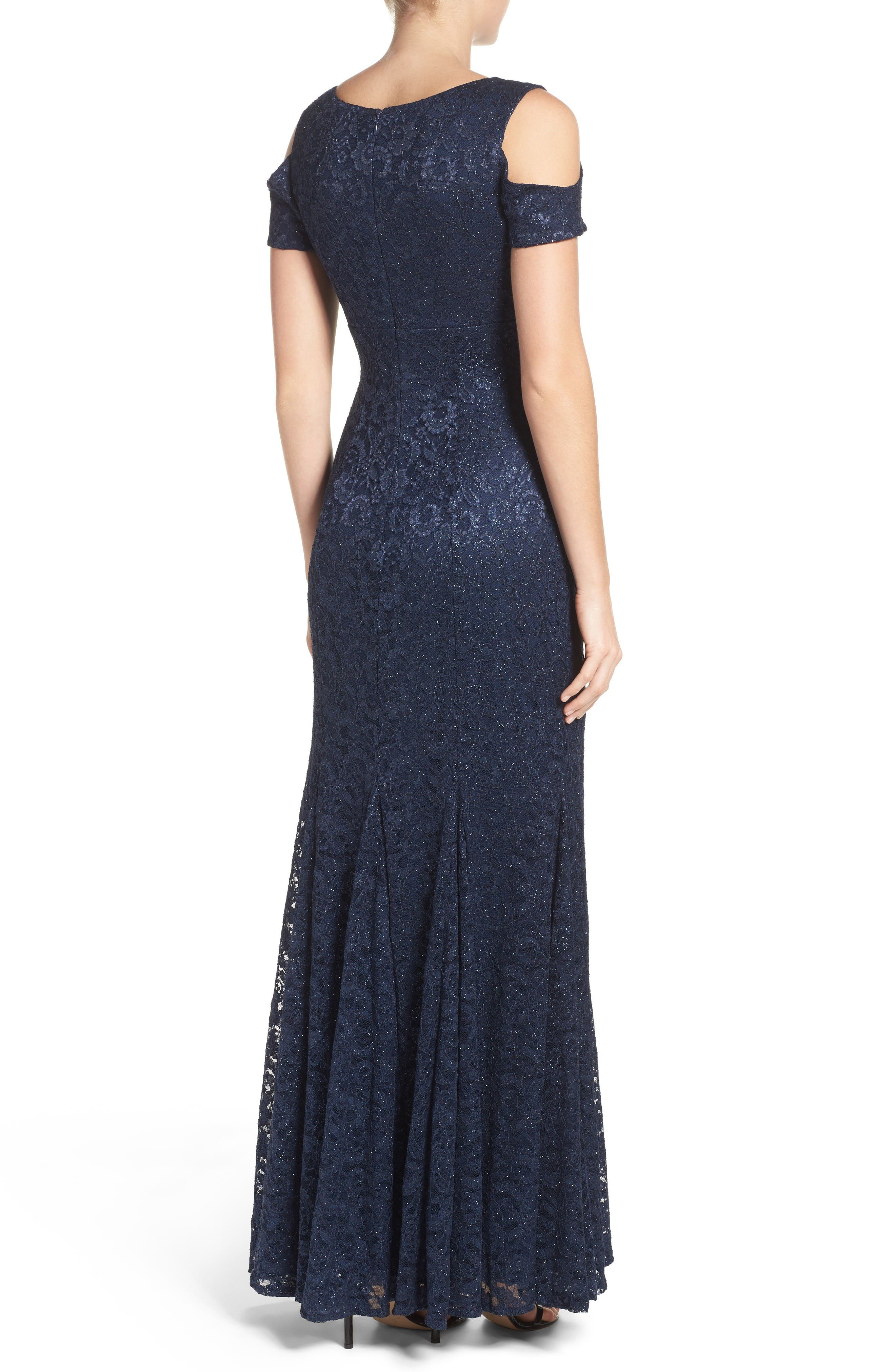 Cold Shoulder Lace Gown,                             Alternate thumbnail 2, color,                             Navy
