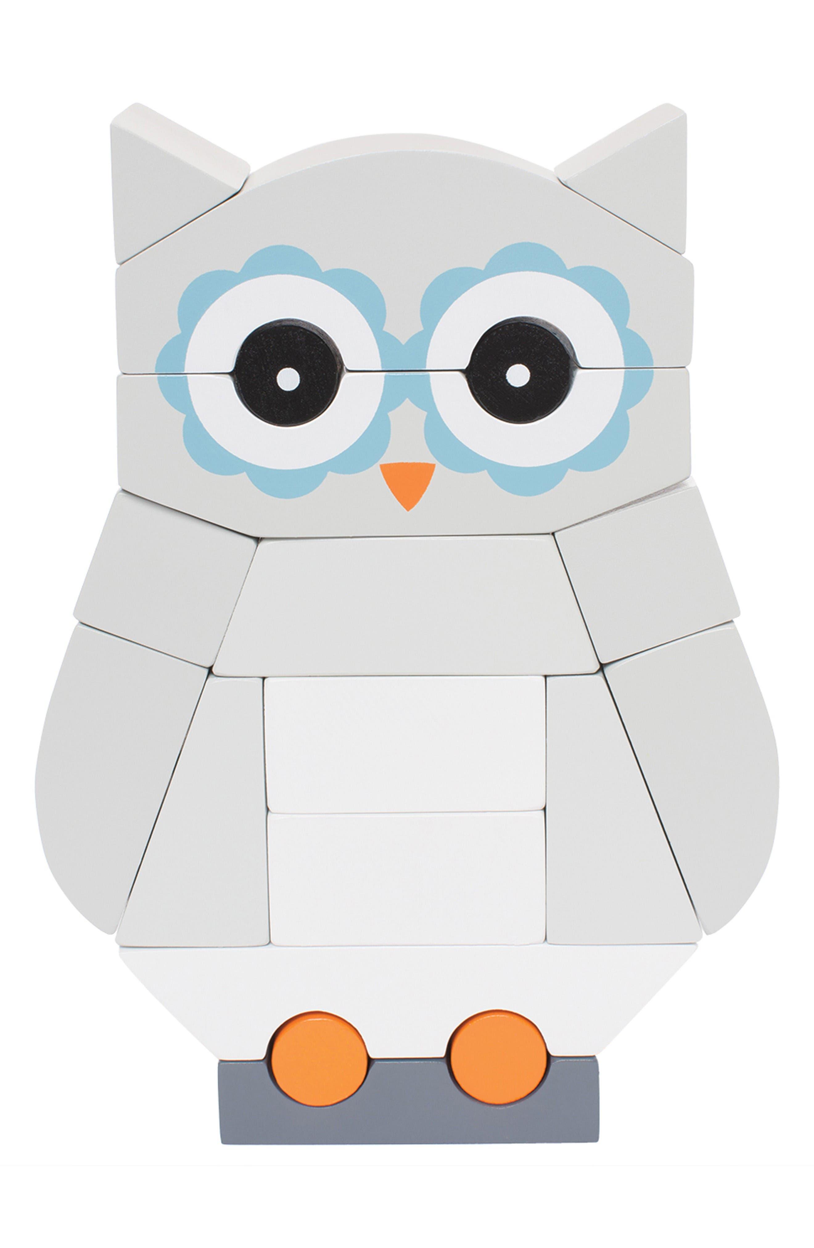 Luna the Owl Magnetic Blocks,                         Main,                         color, Grey