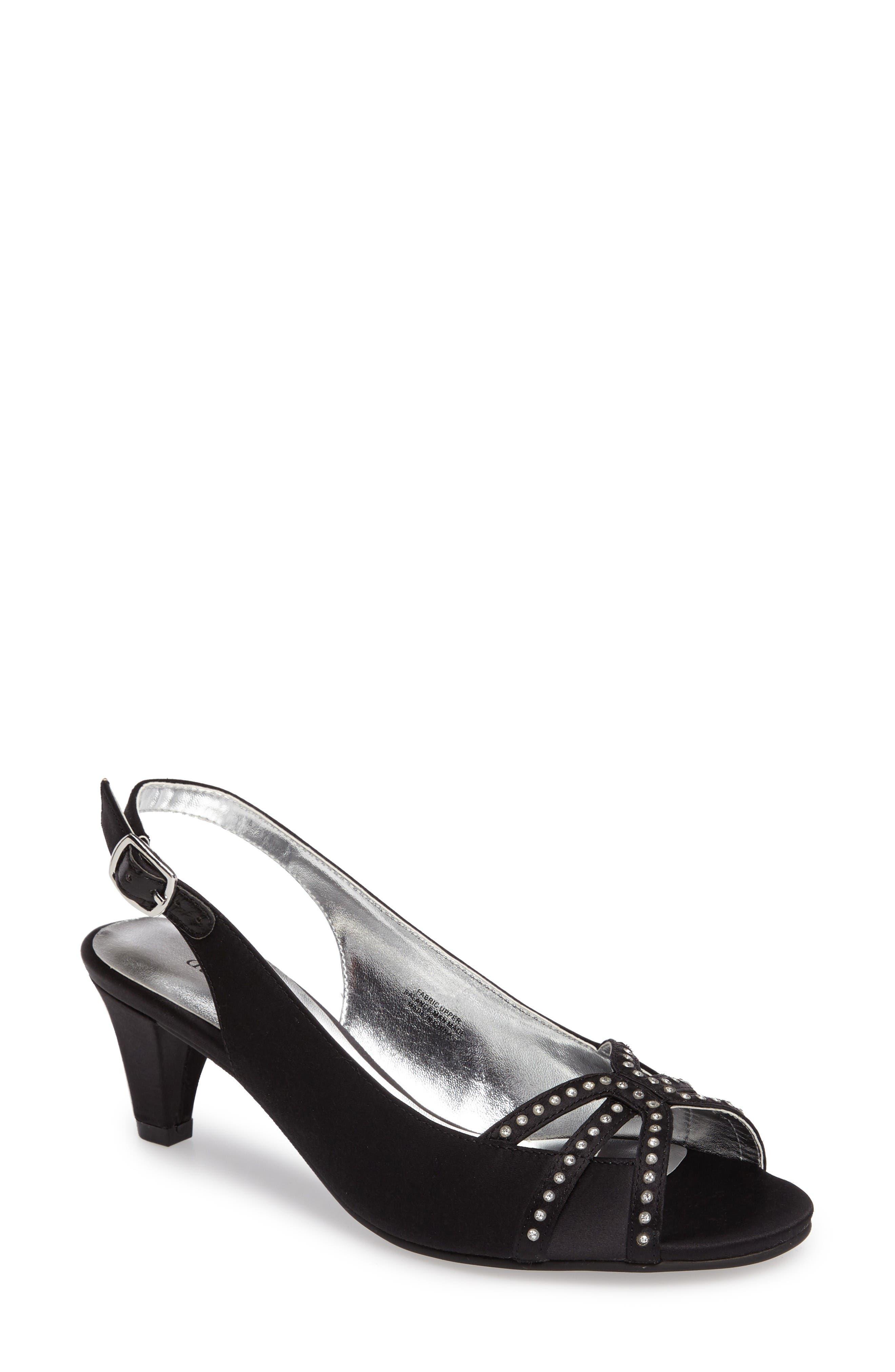 Regal Embellished Slingback Sandal,                             Main thumbnail 1, color,                             Black Fabric