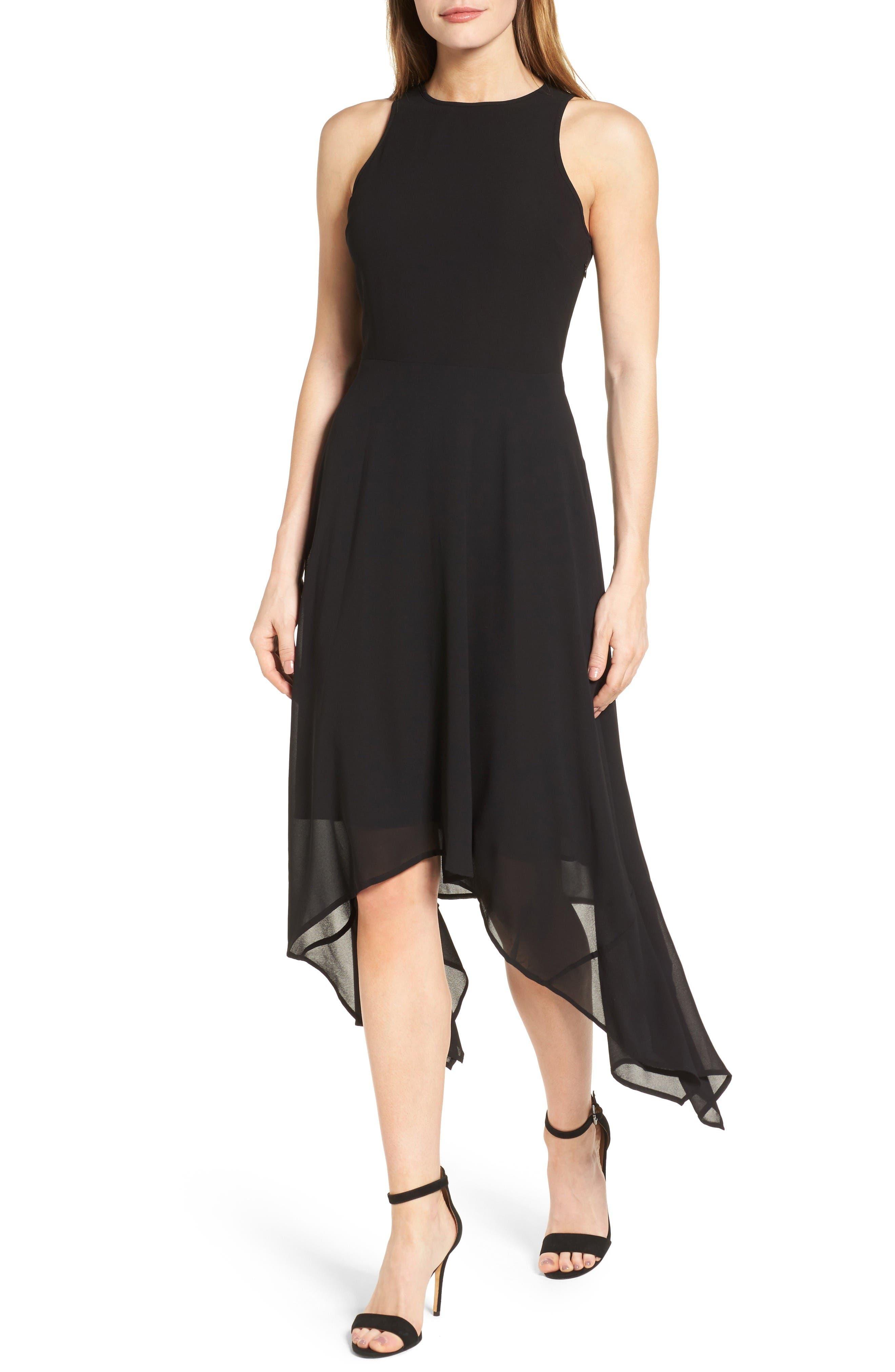 High/Low Georgette Dress,                         Main,                         color, Black