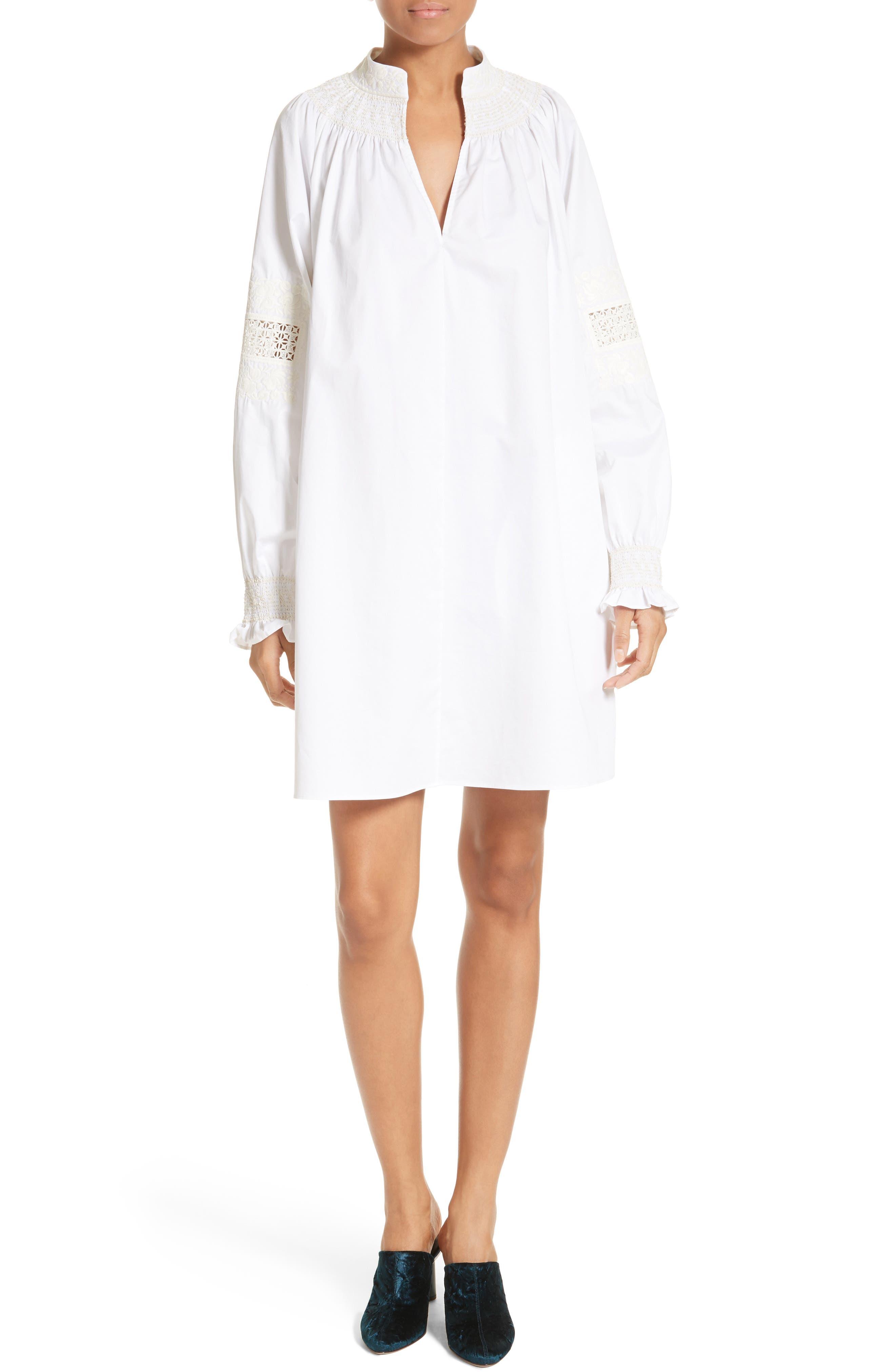 Smocked Tunic Dress,                         Main,                         color, White/ Ivory Multi