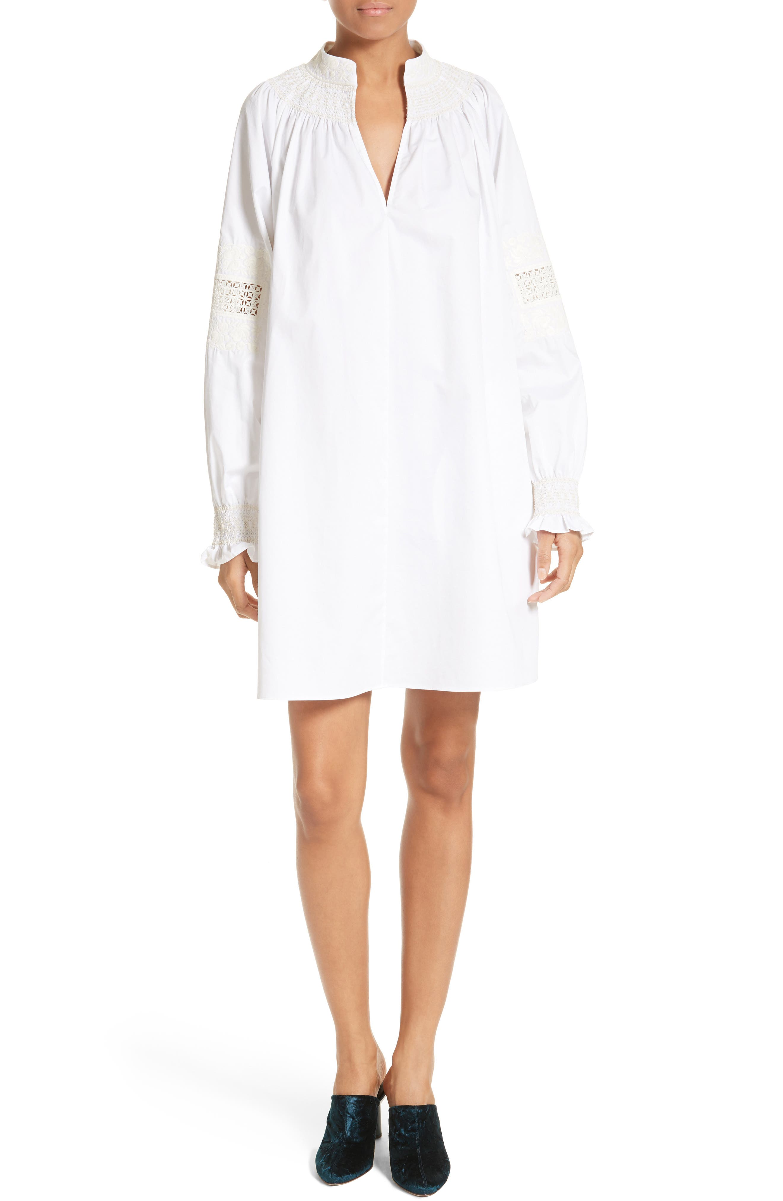 Tibi Smocked Tunic Dress