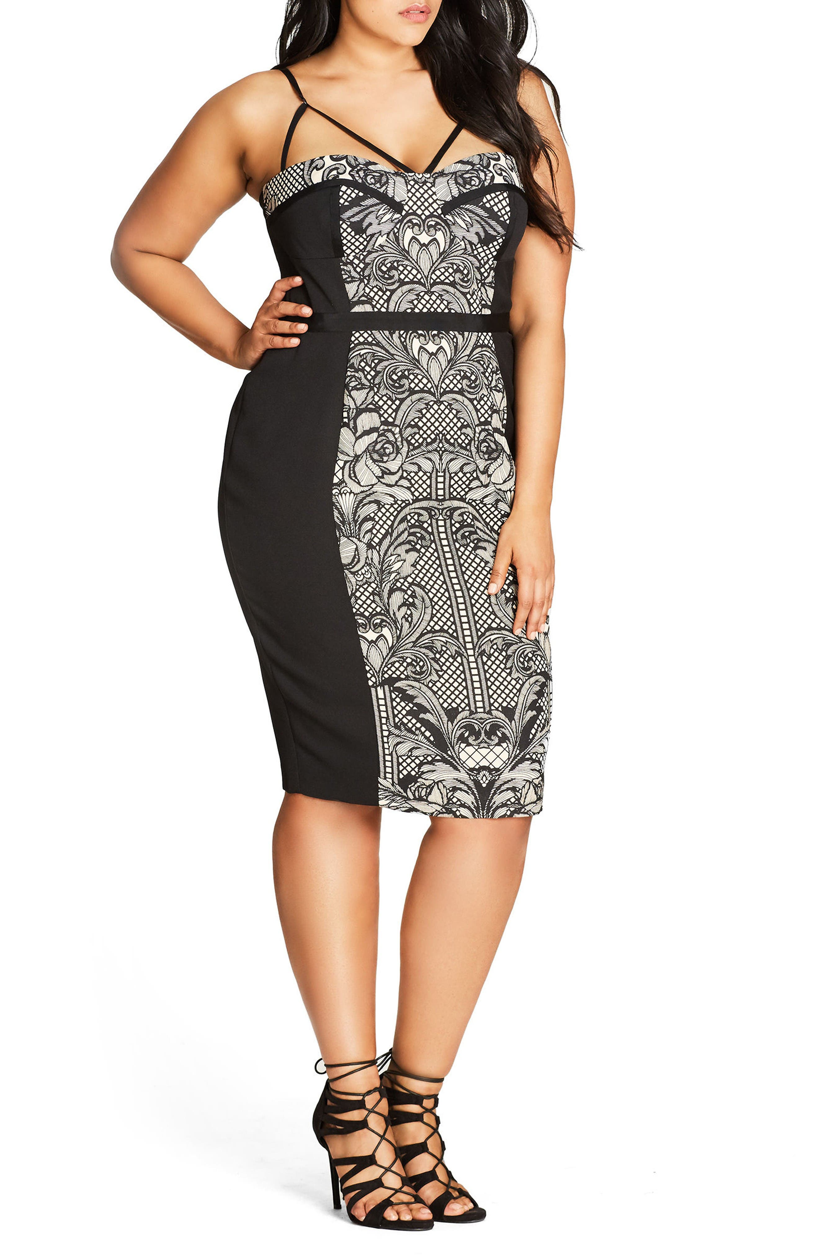 Seductive Strappy Block Print Sheath Dress,                         Main,                         color, Black