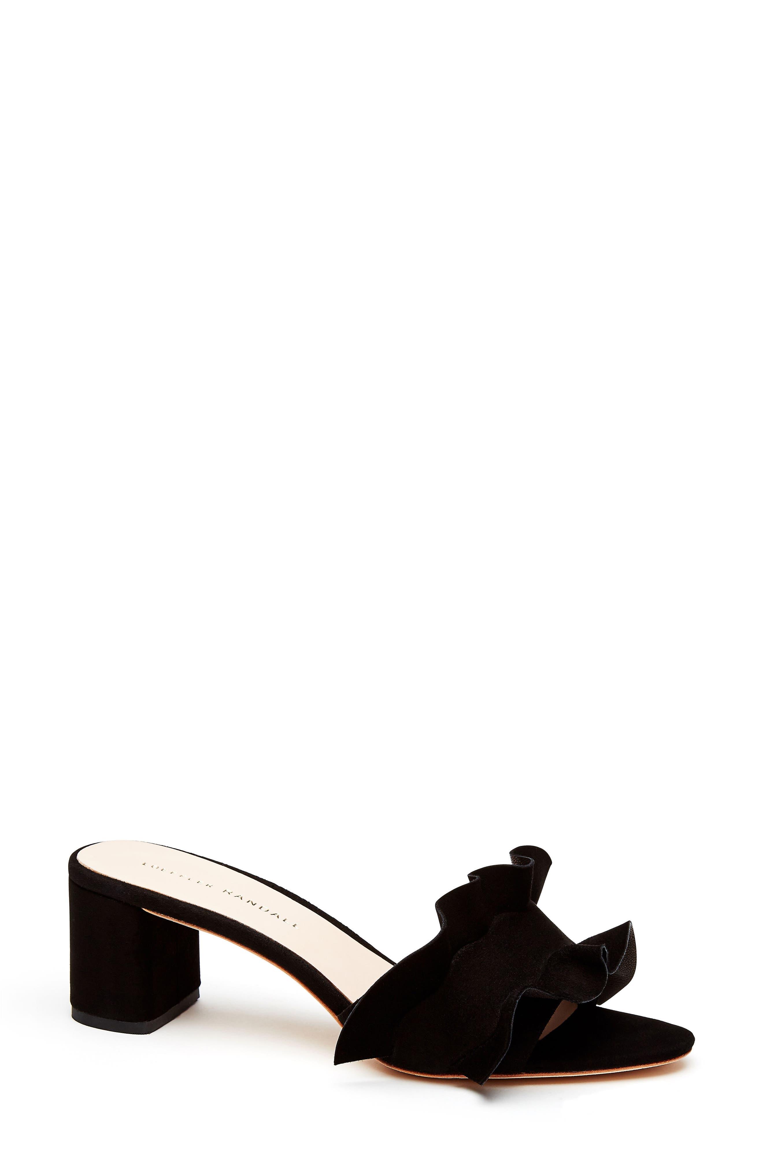 Vera Ruffled Slide Sandal,                             Main thumbnail 1, color,                             Black Suede
