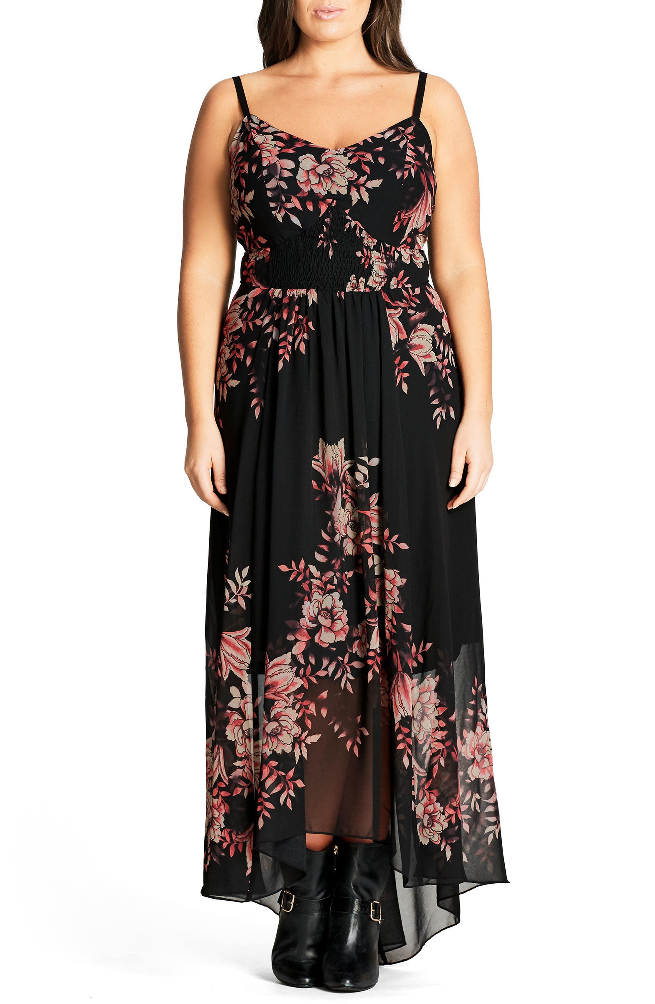 Main Image - City Chic Antique Floral Chiffon High/Low Maxi Dress (Plus Size)