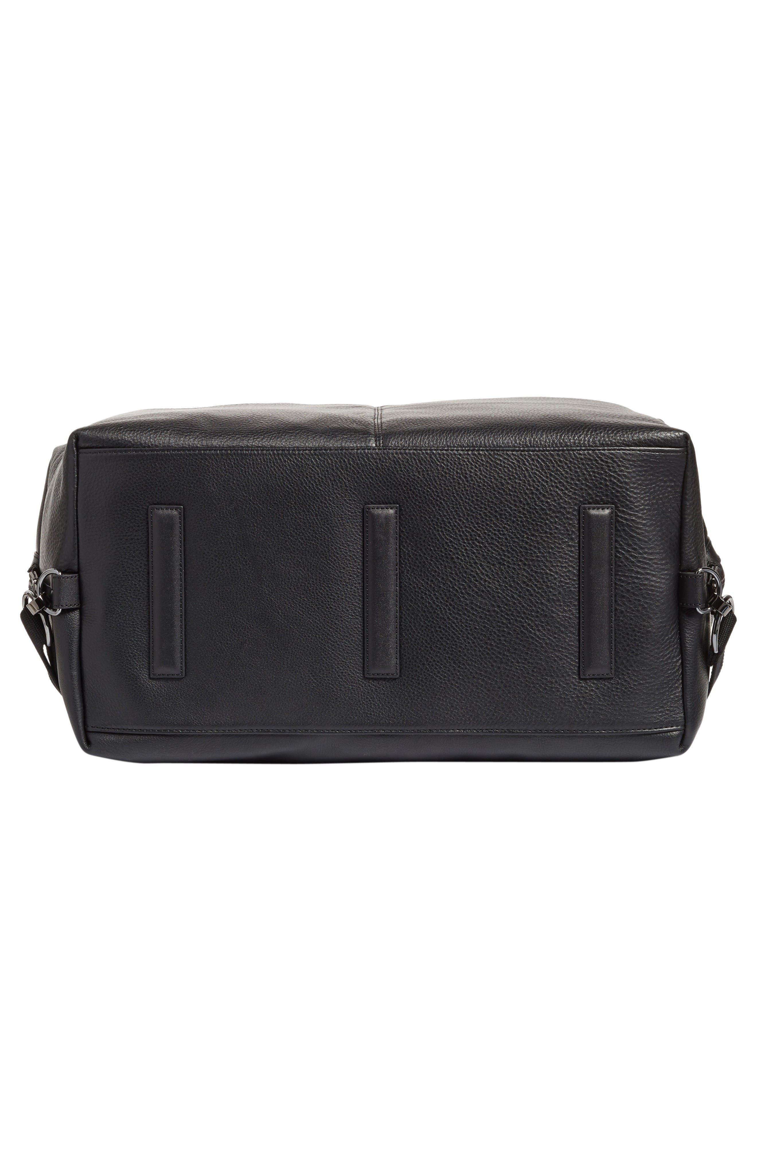 Leather Duffel Bag,                             Alternate thumbnail 6, color,                             Black