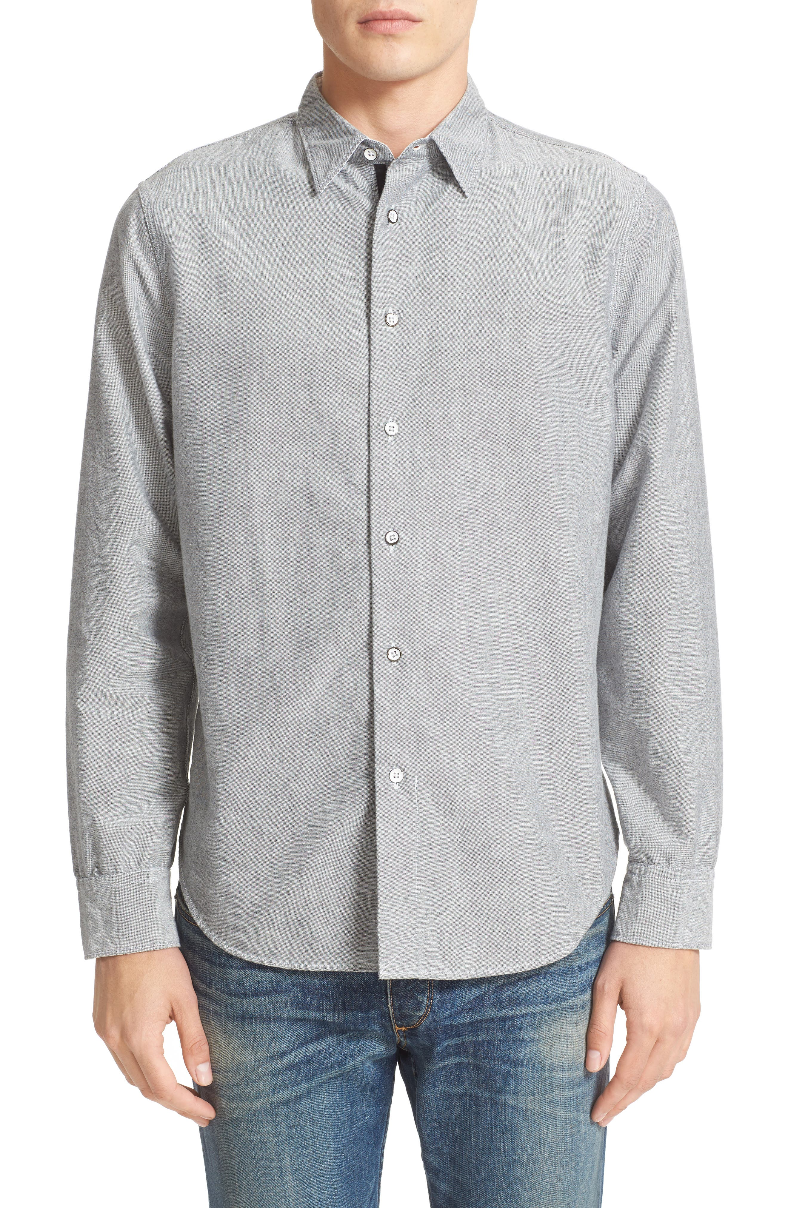 Beach Trim Fit Oxford Sport Shirt,                         Main,                         color, Grey
