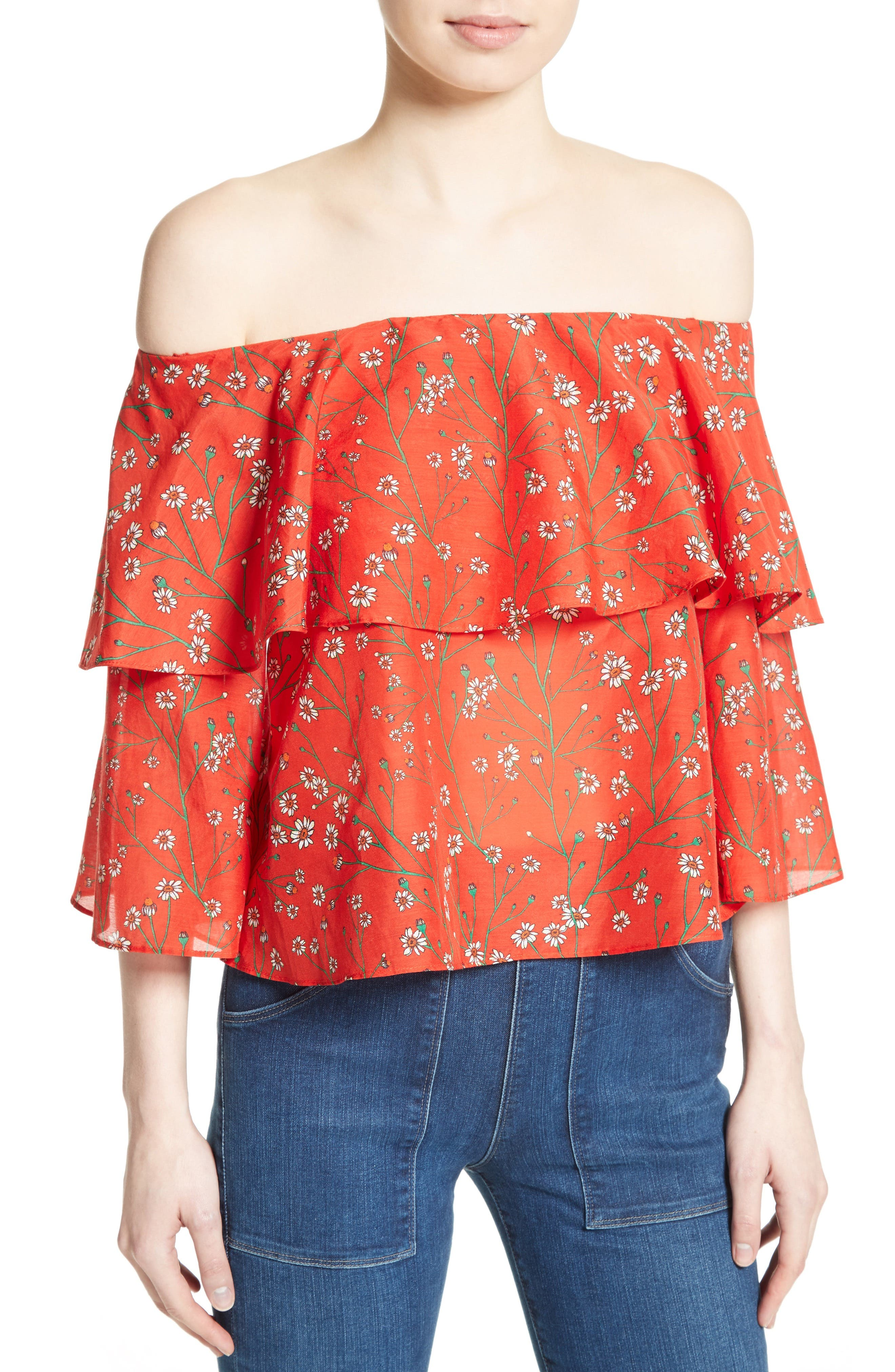 Meagan Double Layer Off the Shoulder Top,                             Alternate thumbnail 4, color,                             Dainty Daisy