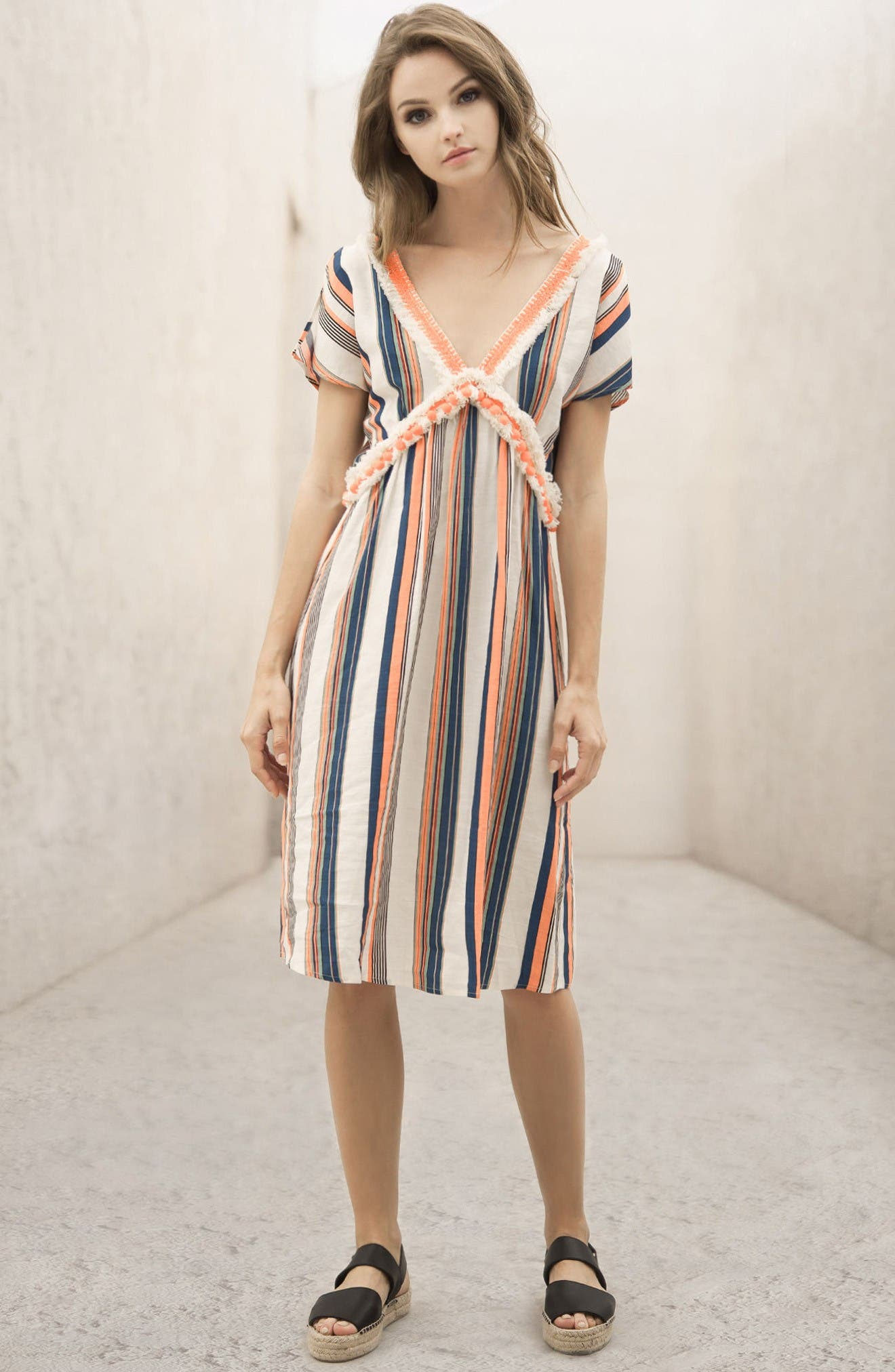 Alternate Image 2  - MOON RIVER Stripe Linen & Cotton Dress