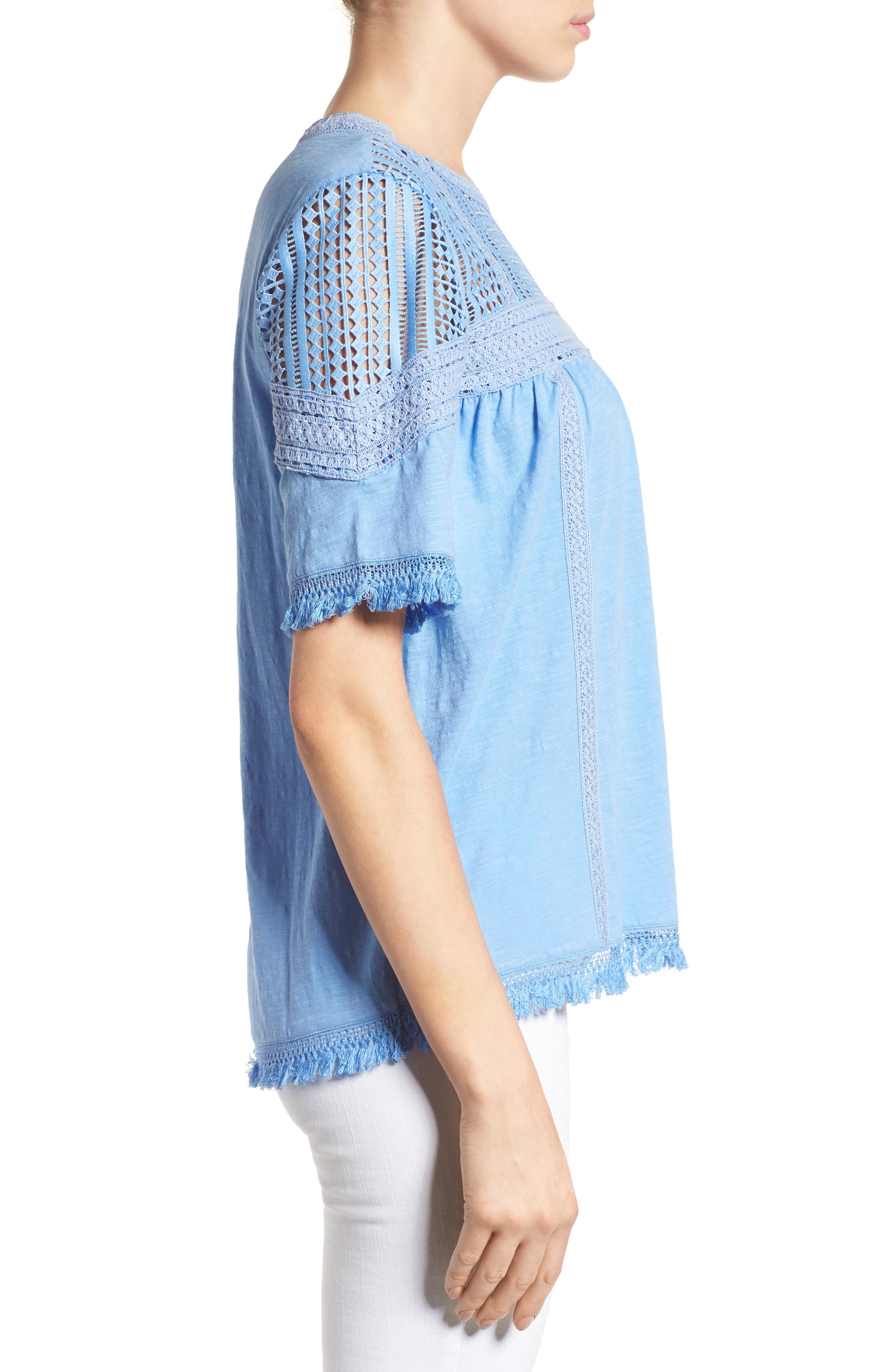 Alternate Image 3  - Caslon® Fringed Lace & Knit Tee (Regular & Petite)