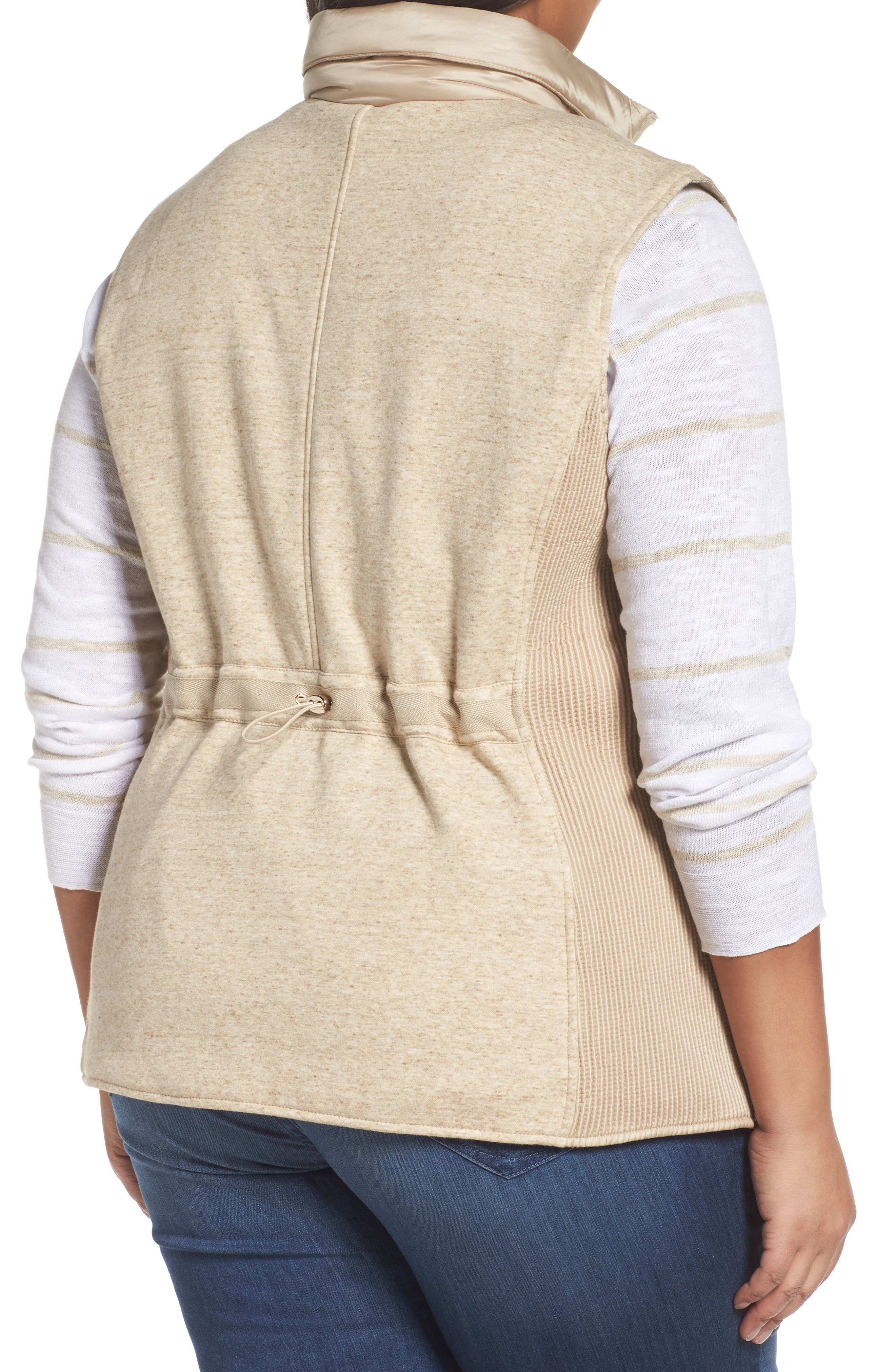 Alternate Image 2  - Gallery Mixed Media Zip Front Vest (Plus Size)