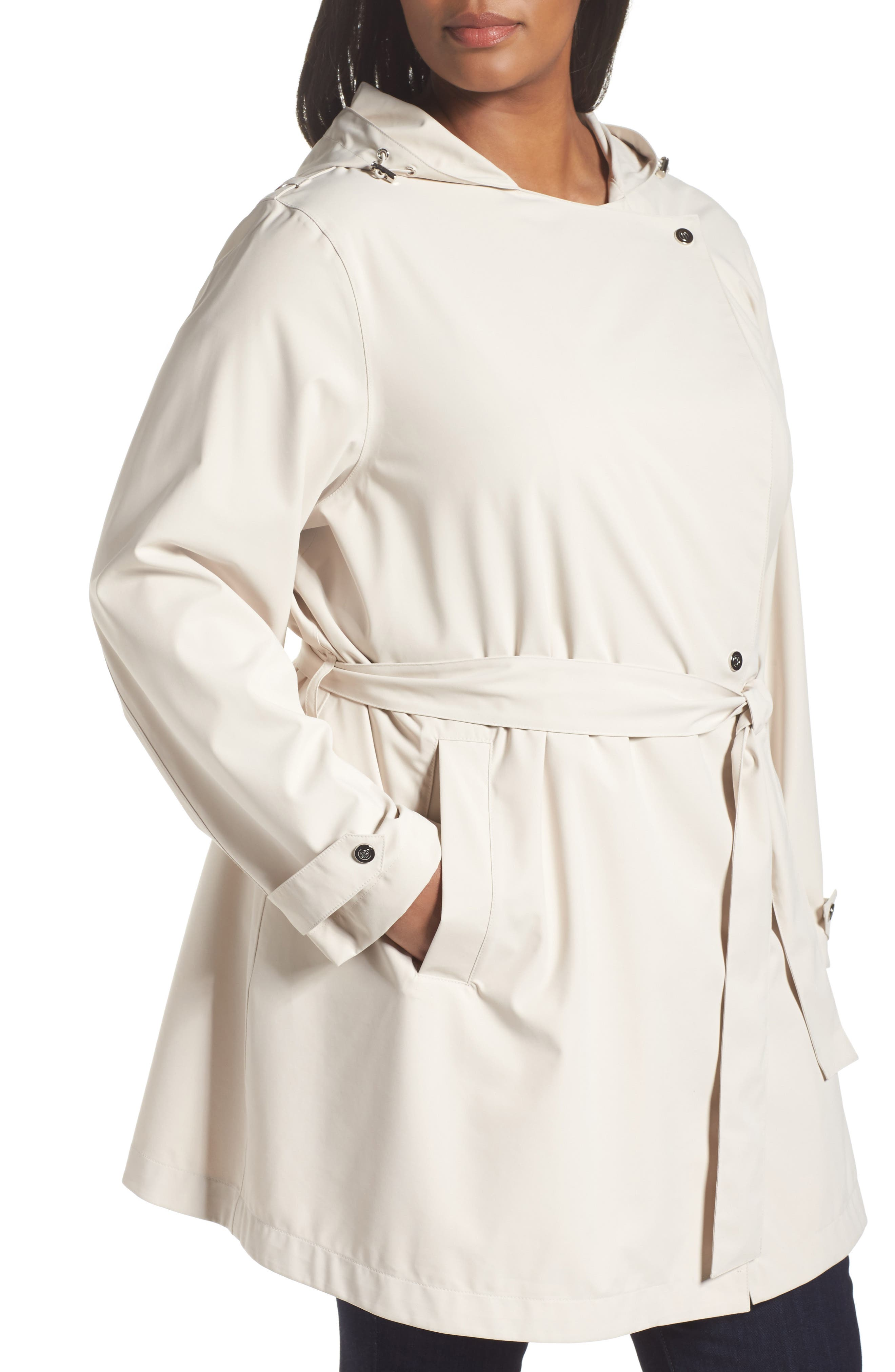 Breathable Microfiber Trench Coat,                             Alternate thumbnail 4, color,                             Beige