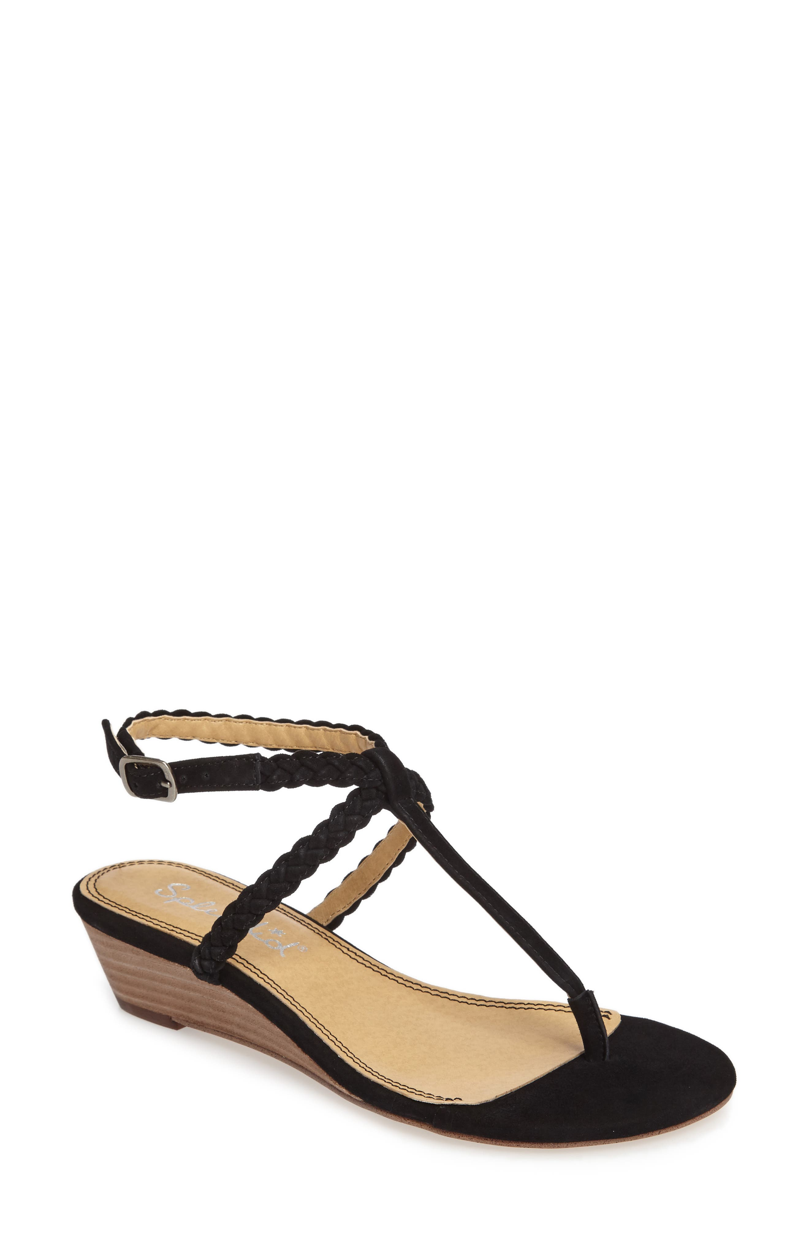 Jadia T-Strap Sandal,                             Main thumbnail 1, color,                             Black Suede