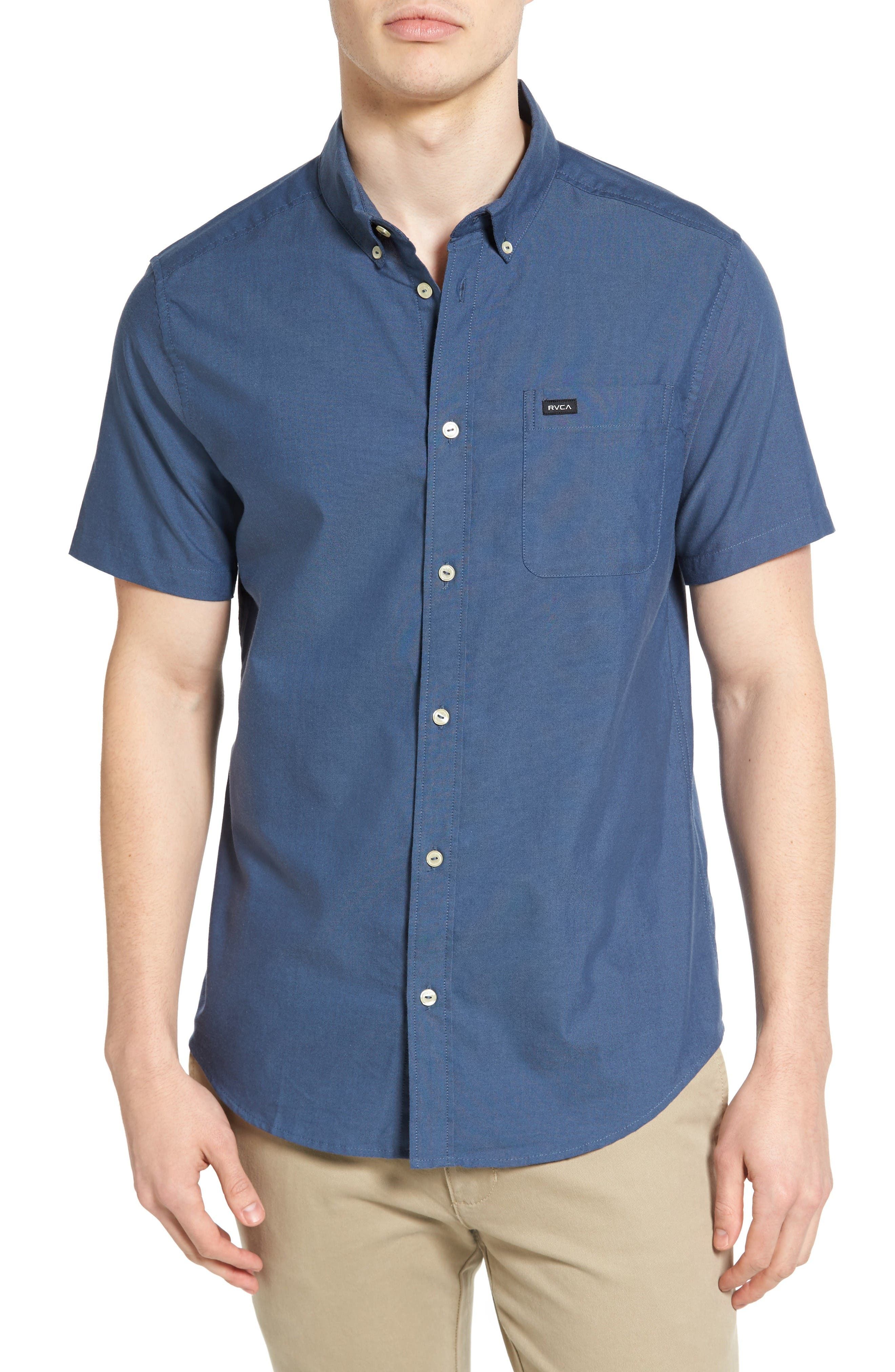'That'll Do' Slim Fit Short Sleeve Oxford Shirt,                         Main,                         color, Blue Slate