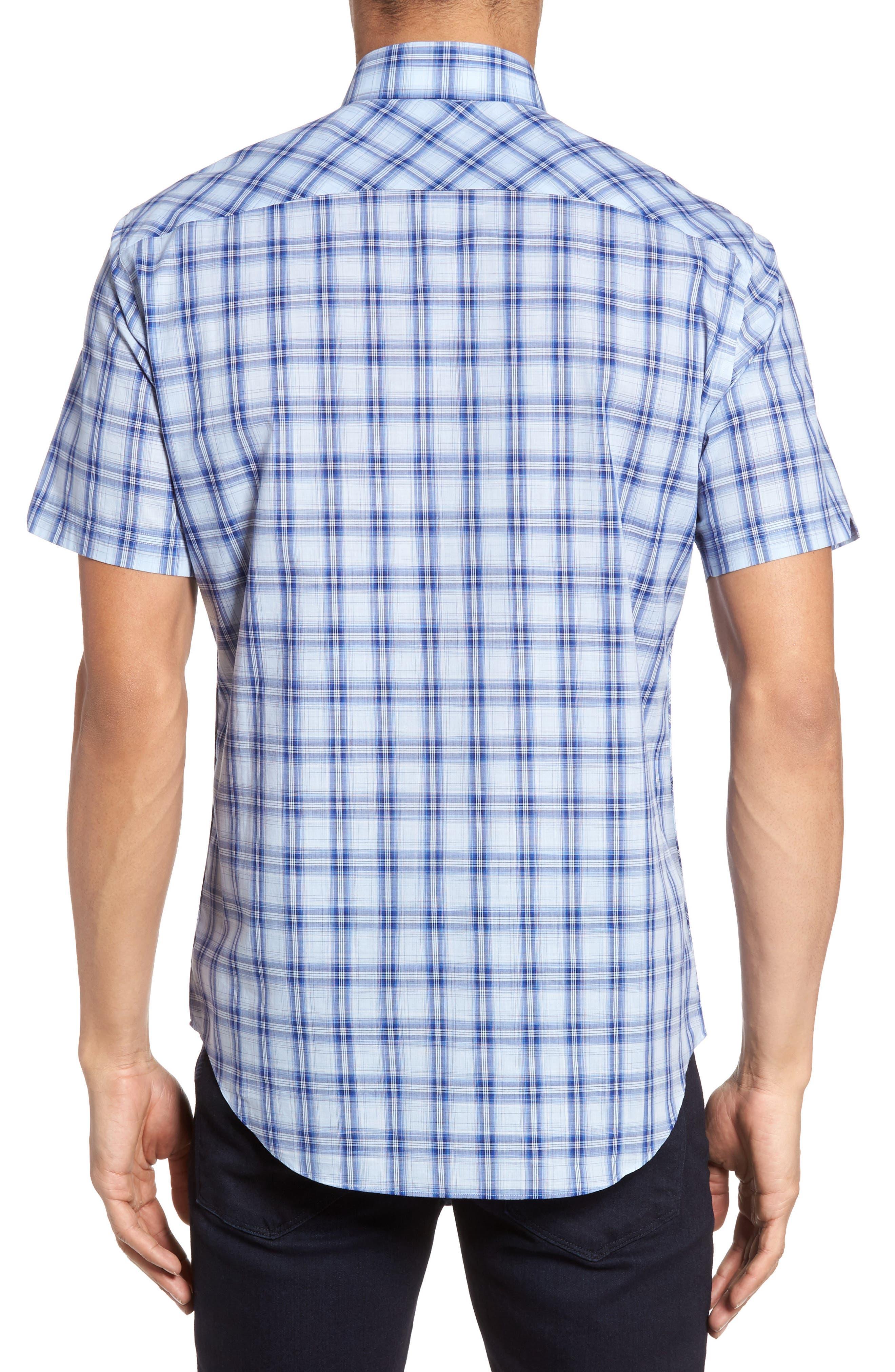 Hwang Trim Fit Plaid Sport Shirt,                             Alternate thumbnail 2, color,                             Pale Blue