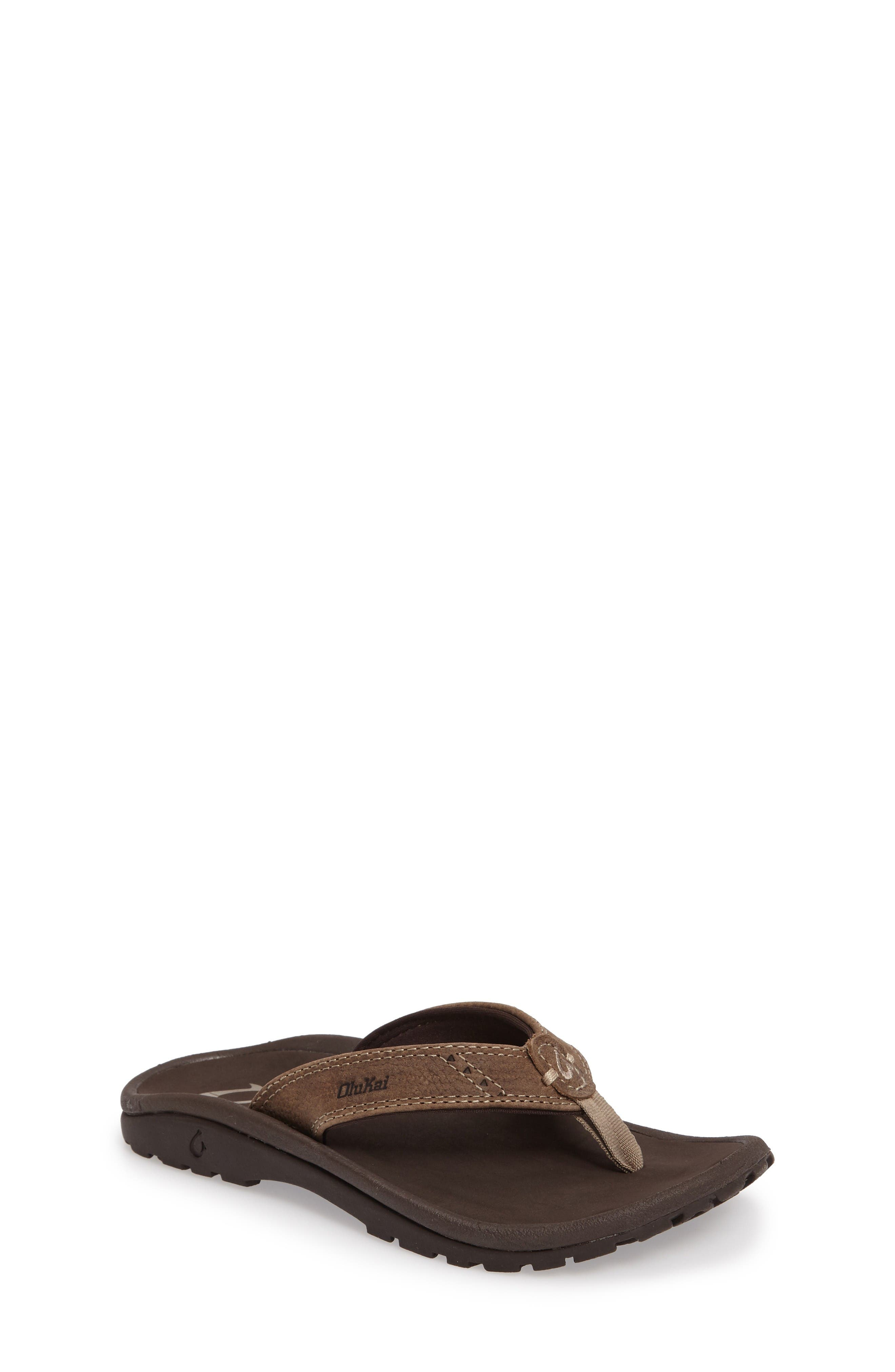 Nui Leather Flip Flop,                         Main,                         color, Clay/ Dark Java