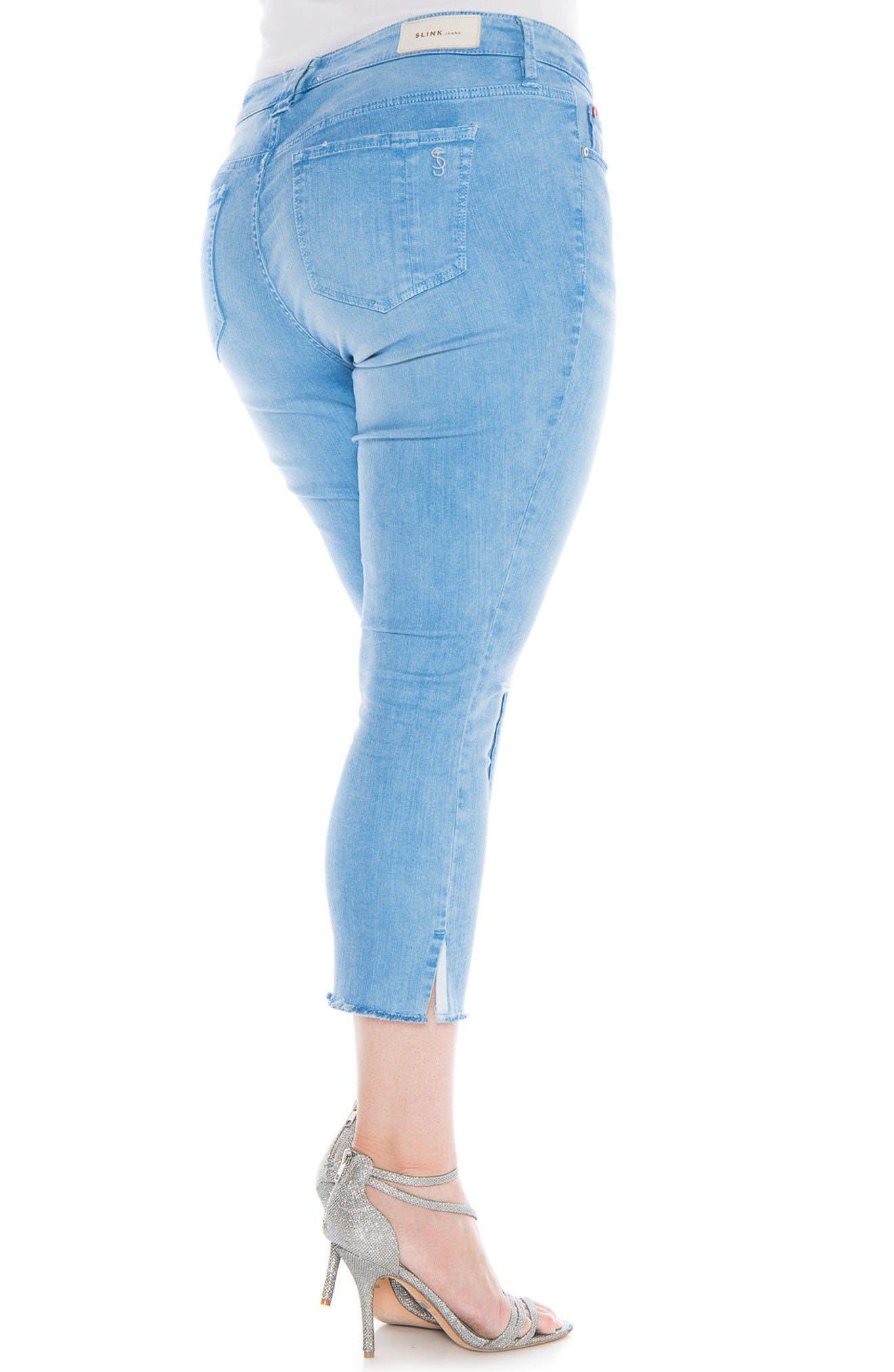 Alternate Image 3  - SLINK Jeans Fray Hem Ripped Crop Skinny Jeans (Plus Size)