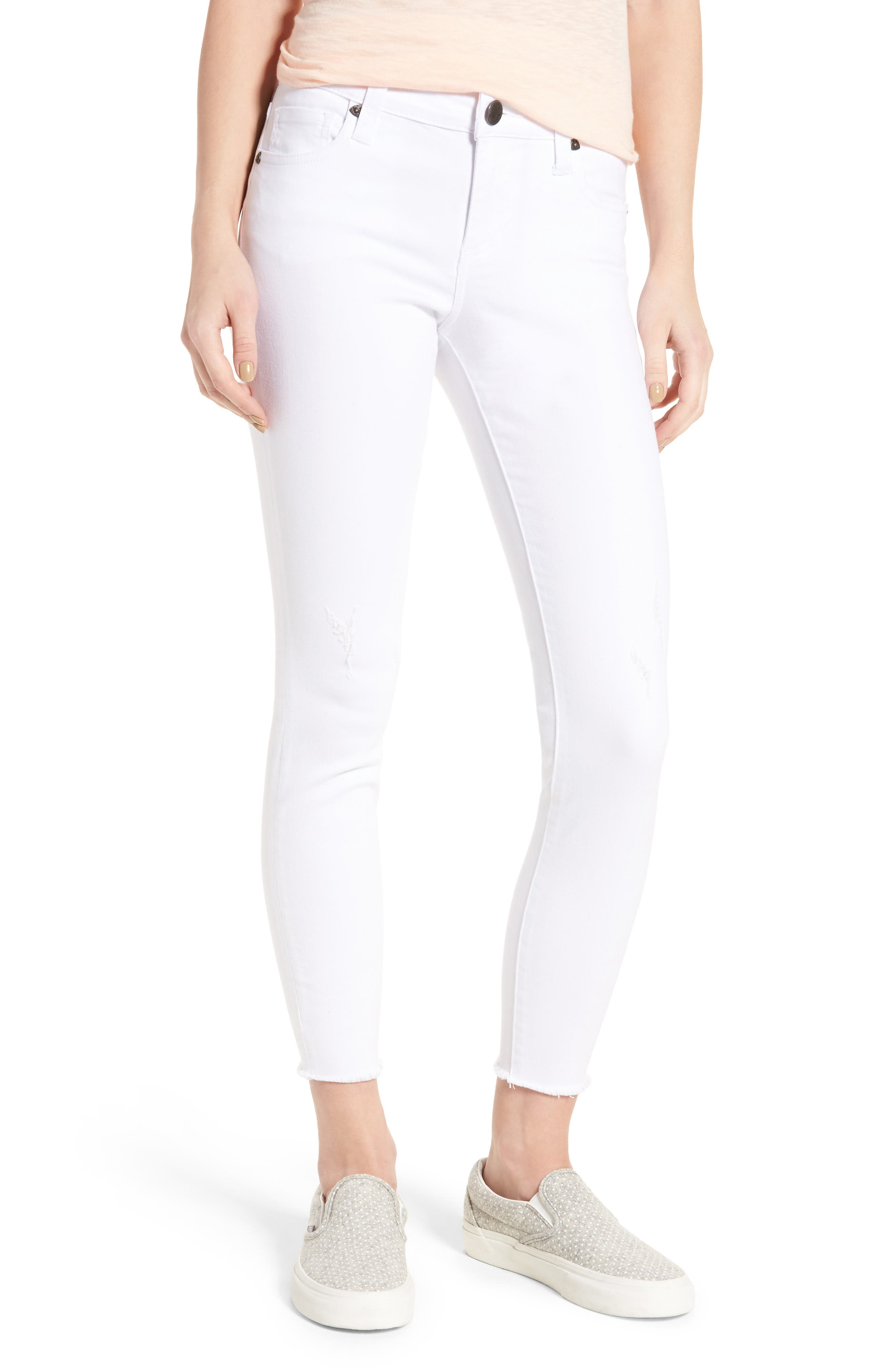 Connie Skinny Jeans,                         Main,                         color, Optic White
