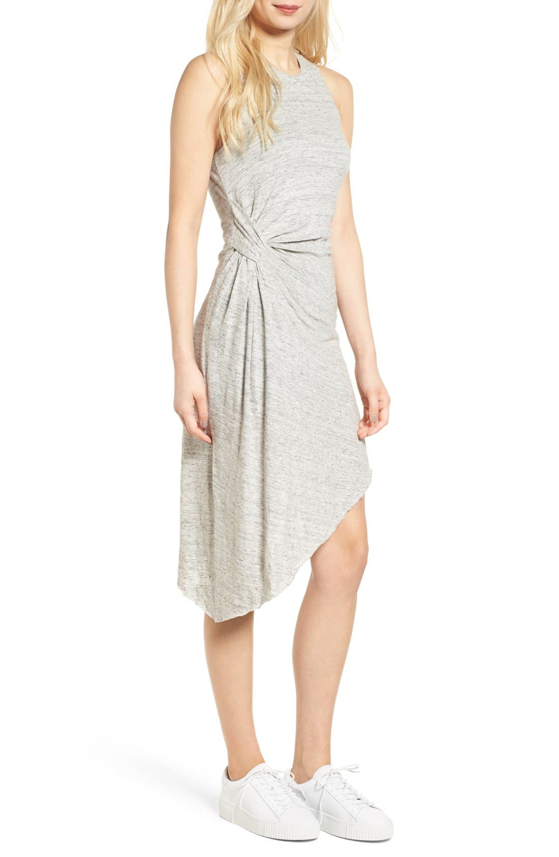Asymmetrical Ruched Dress,                         Main,                         color, Light Heather Grey