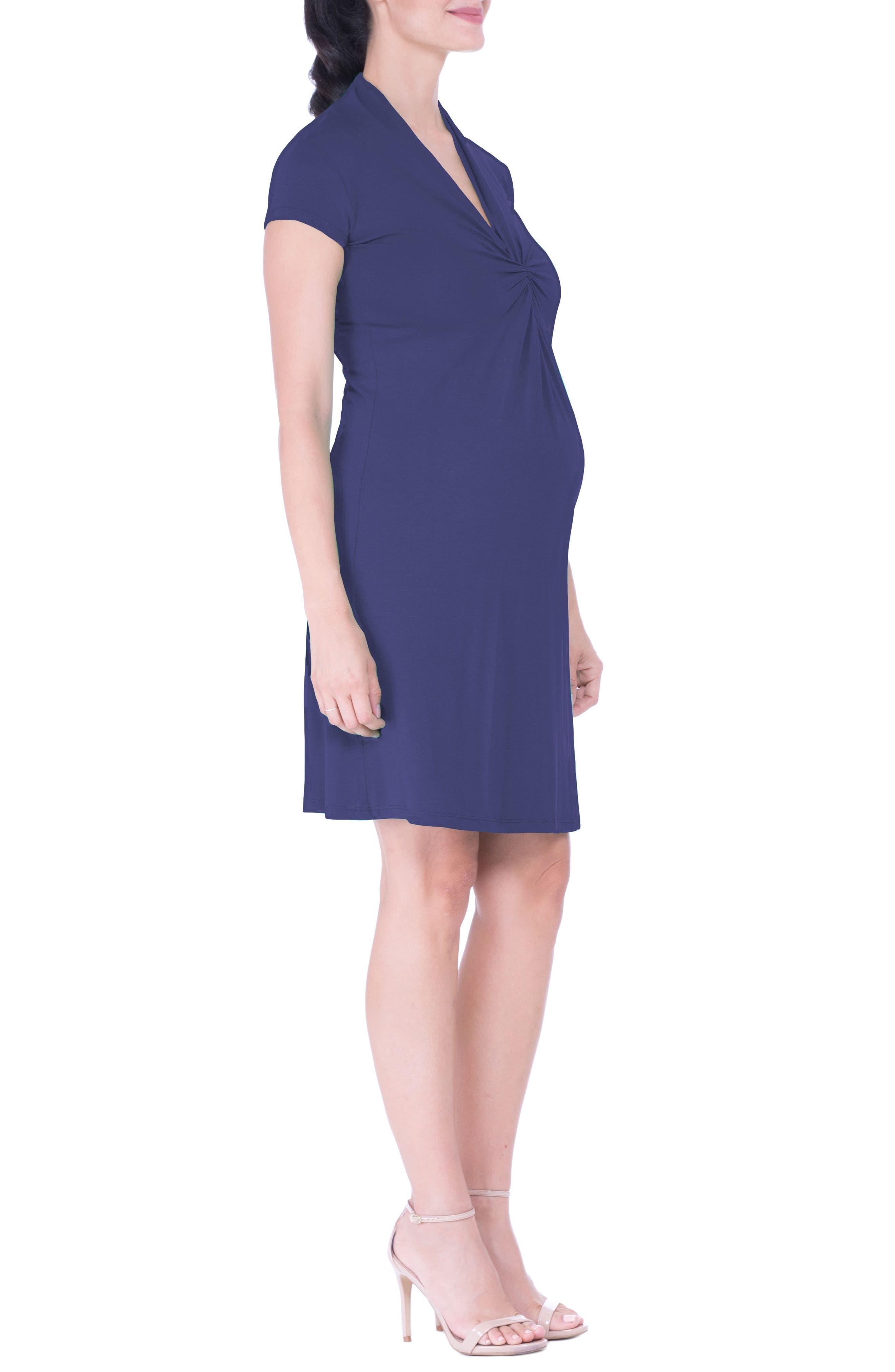 Maternity Wrap Dress,                             Alternate thumbnail 4, color,                             Blue
