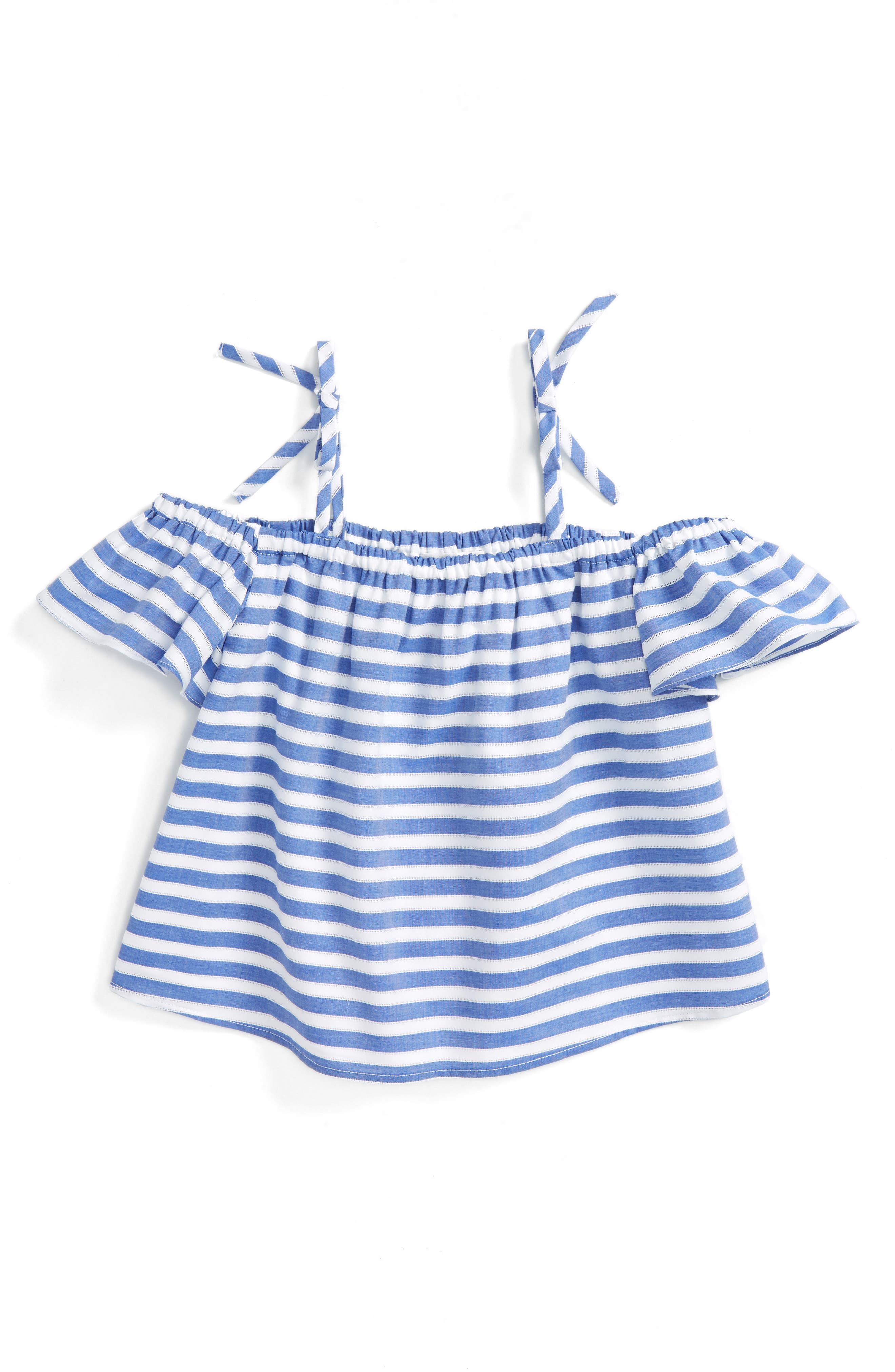 Main Image - Milly Minis Chambray Off the Shoulder Top (Toddler Girls, Little Girls & Big Girls)
