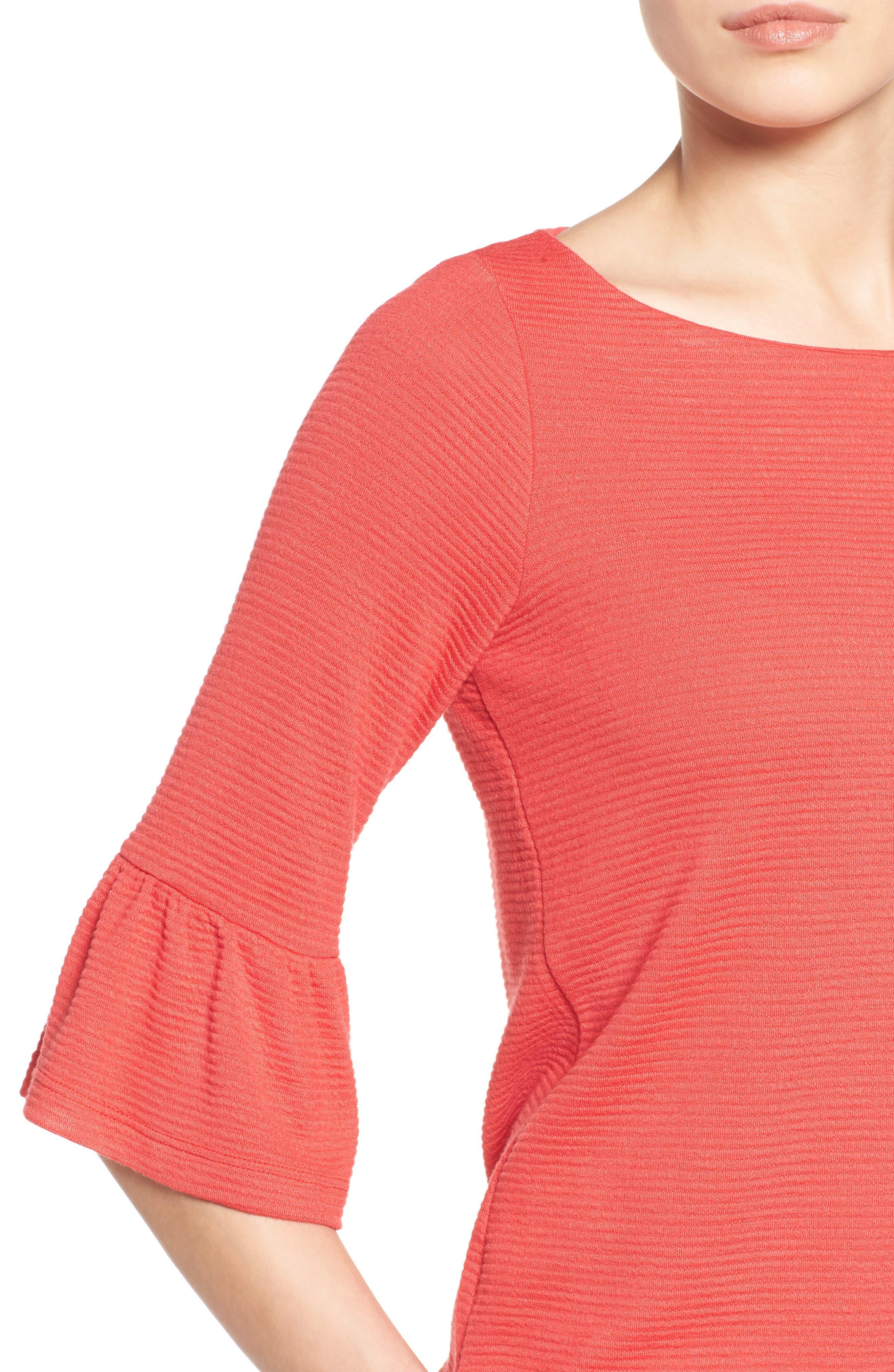 Alternate Image 4  - Pleione Stripe Knit Bell Sleeve Top (Regular & Petite)
