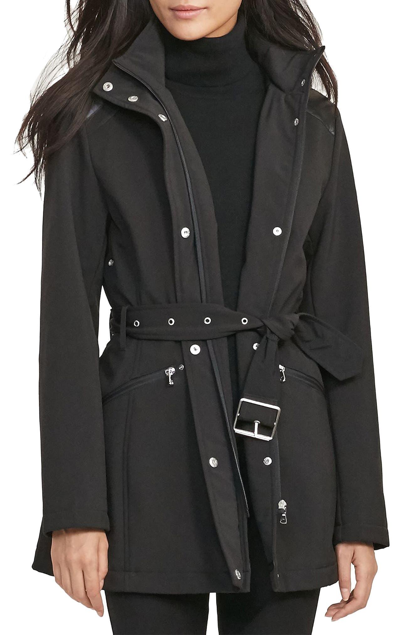 Main Image - Lauren Ralph Lauren Belted Hooded Soft Shell Jacket