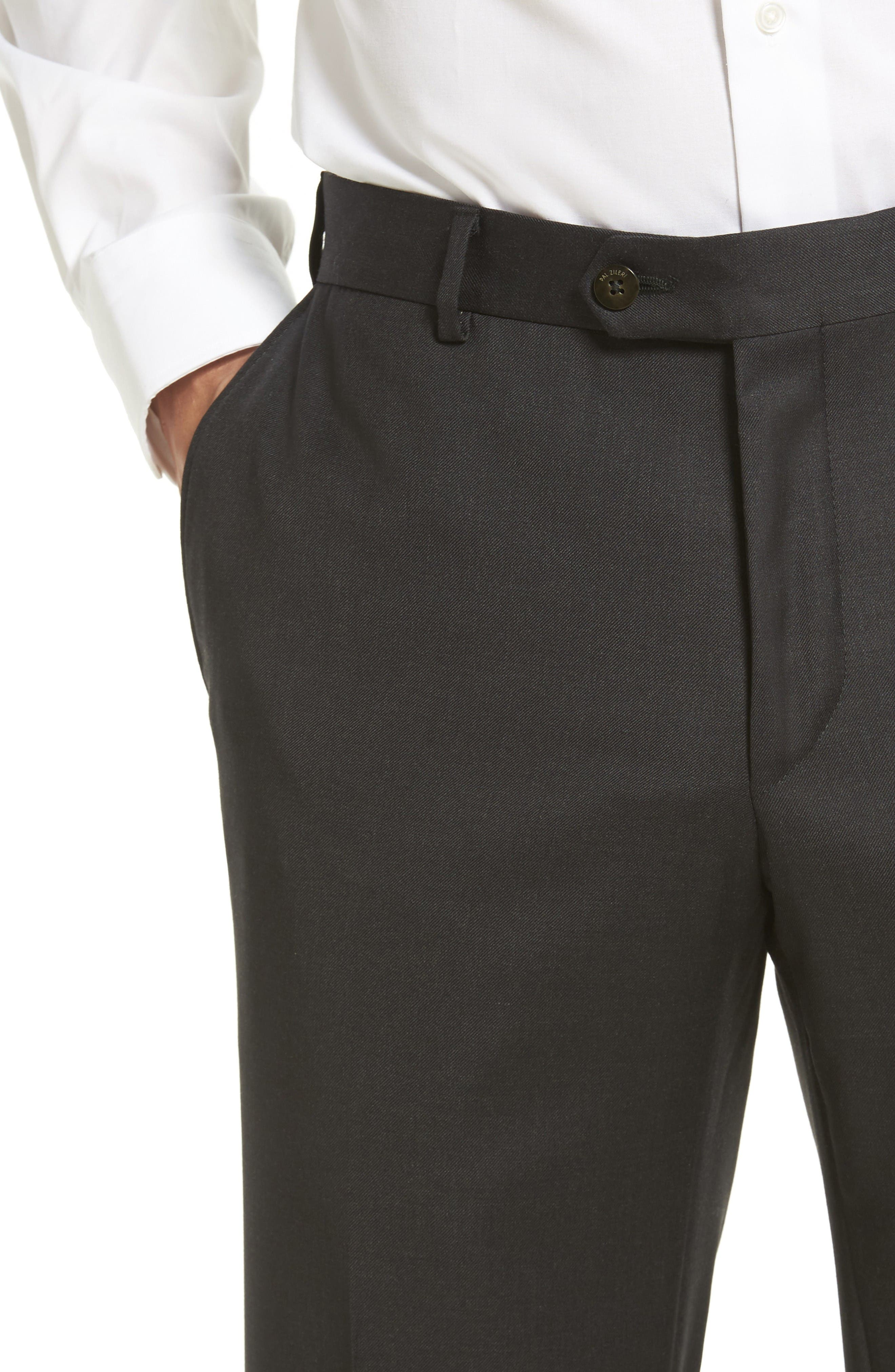 Flat Front Solid Wool Trousers,                             Alternate thumbnail 4, color,                             Charcoal