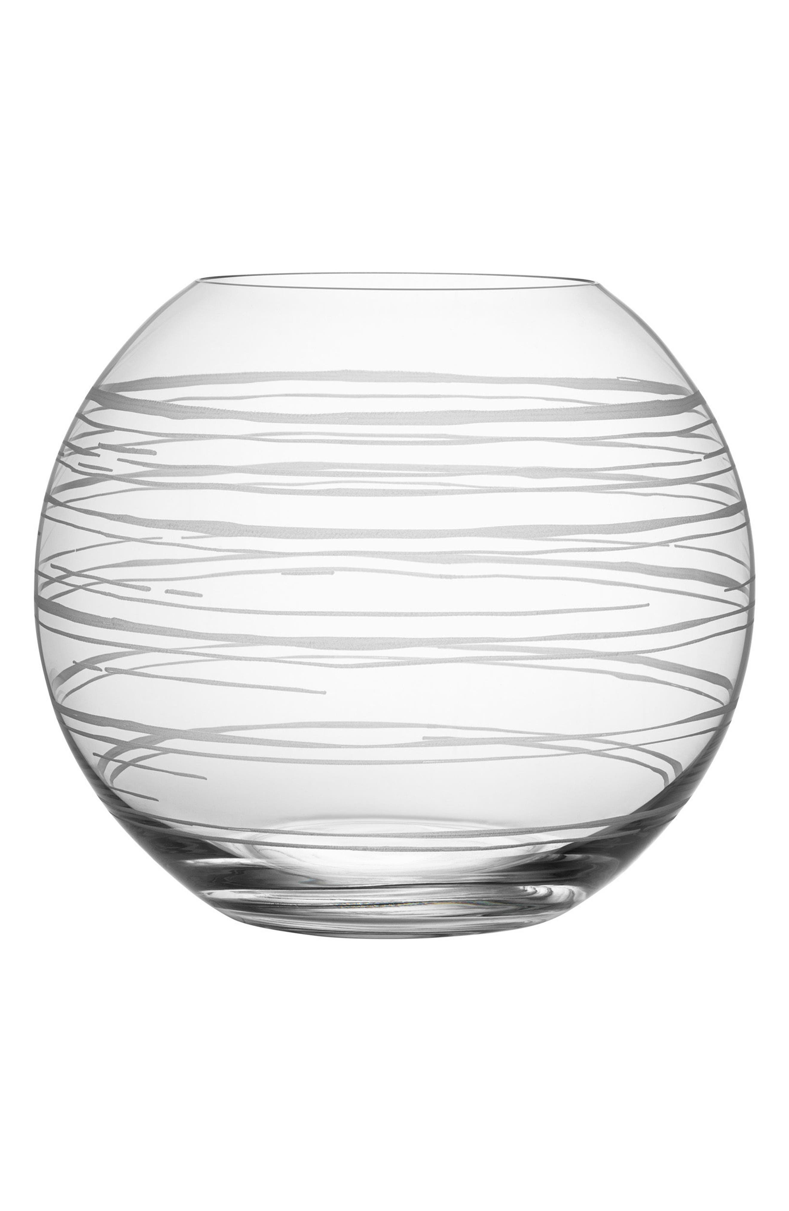 Graphic Round Vase,                             Main thumbnail 1, color,                             Clear