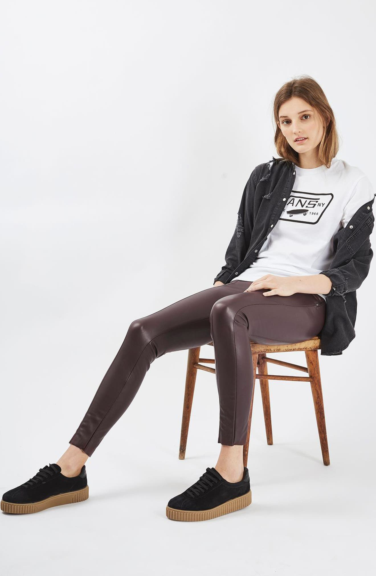 Alternate Image 2  - Topshop Percy Faux Leather Skinny Pants